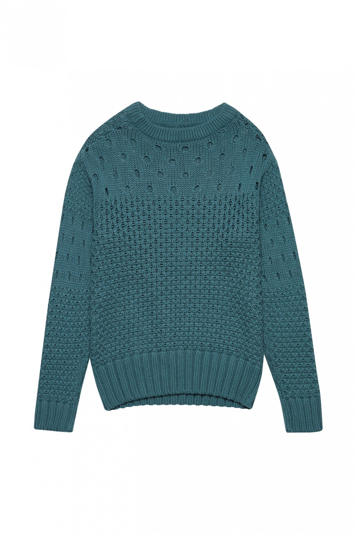 Zielony sweter damski z ozdobnym splotem