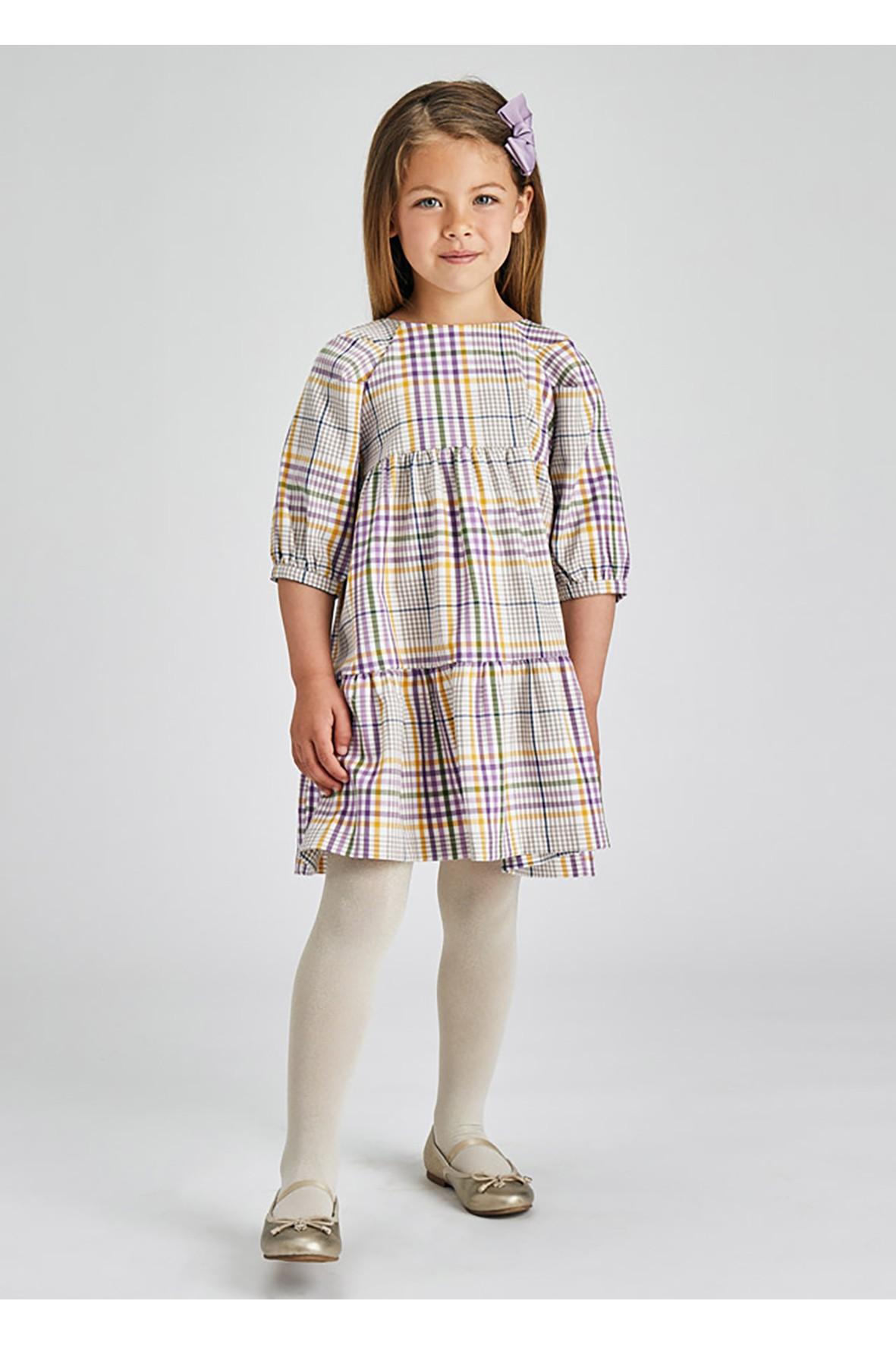 Sukienka dziewczęca w kratkę  z rozkloszowanym dołem