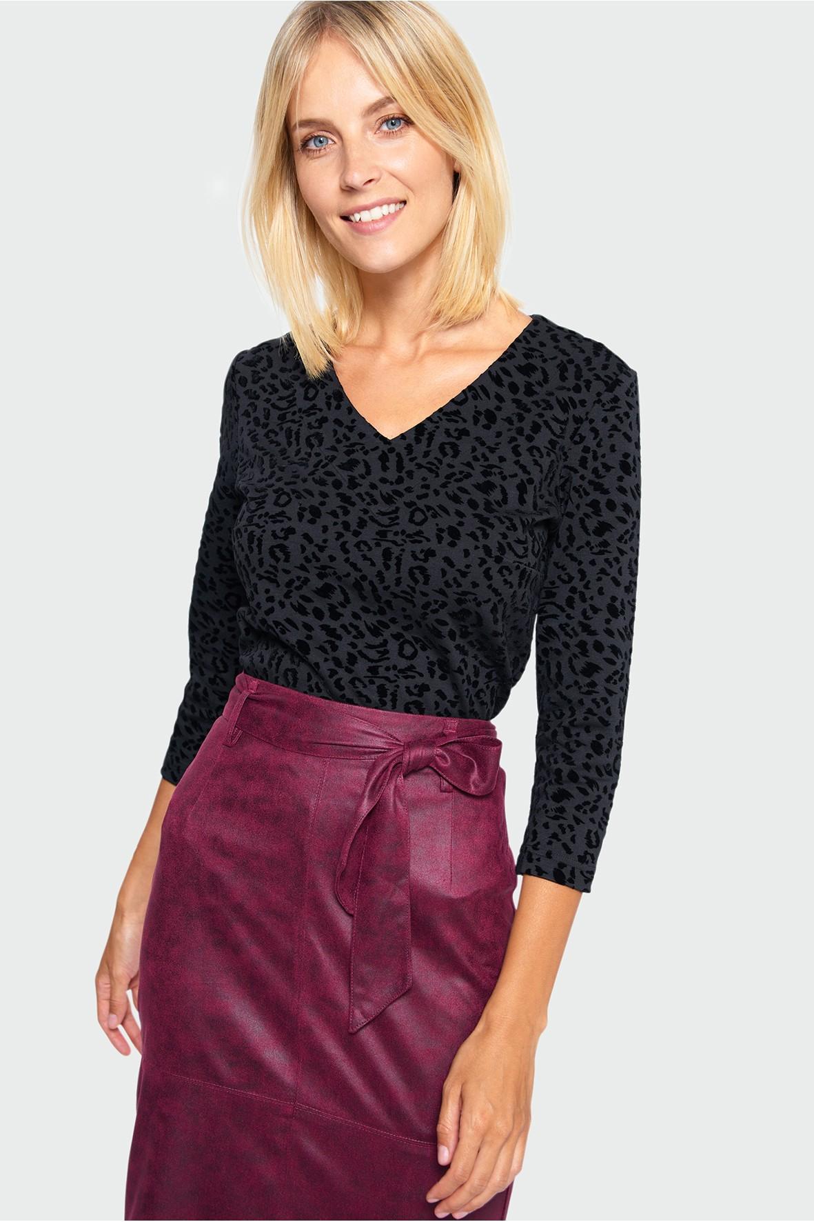 Czarna bluzka damska w panterkę