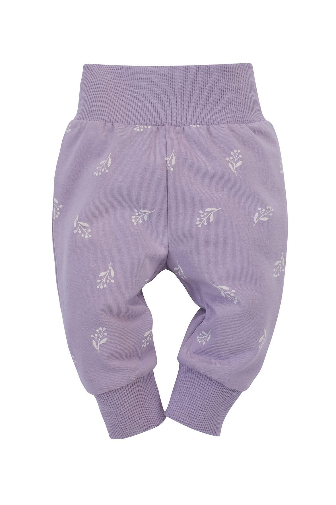 Fioletowe legginsy dla dziewczynki w kwiaty