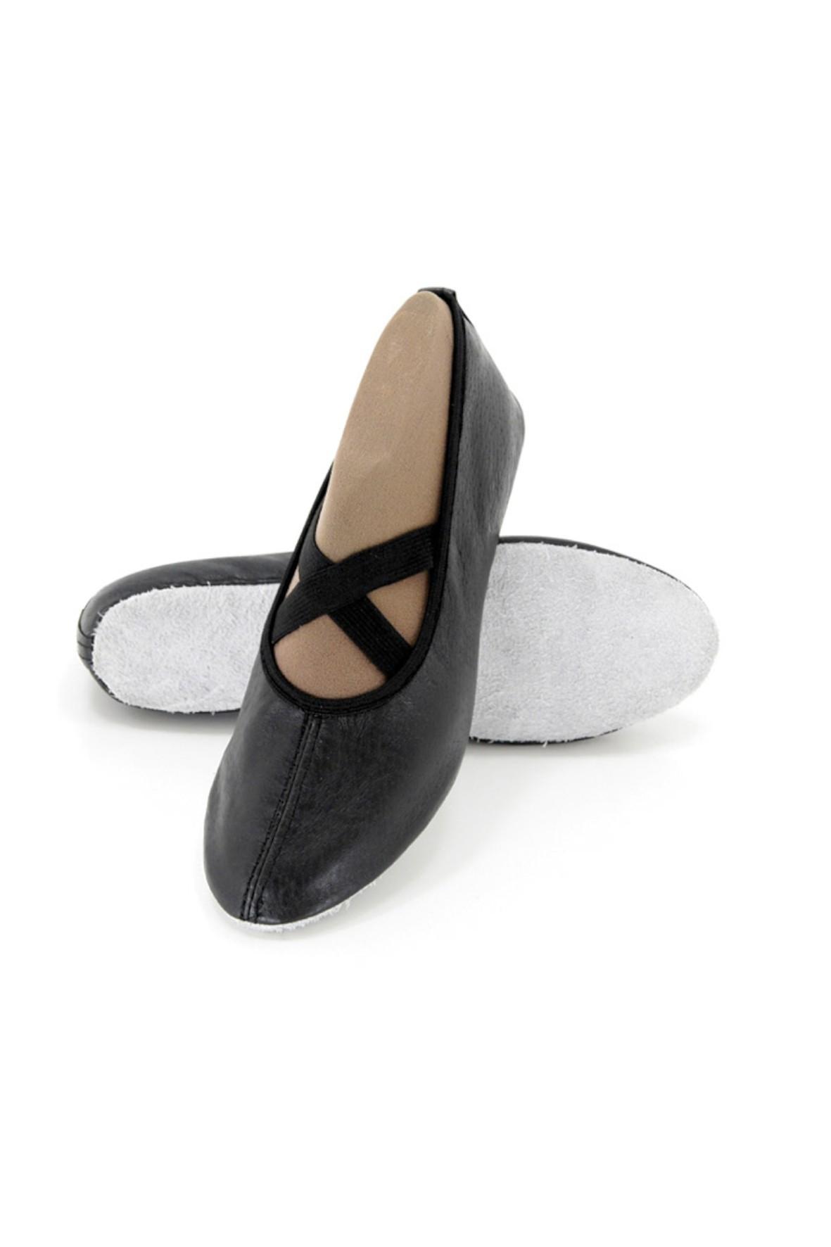 Skórzane czarne baletki dziewczęce