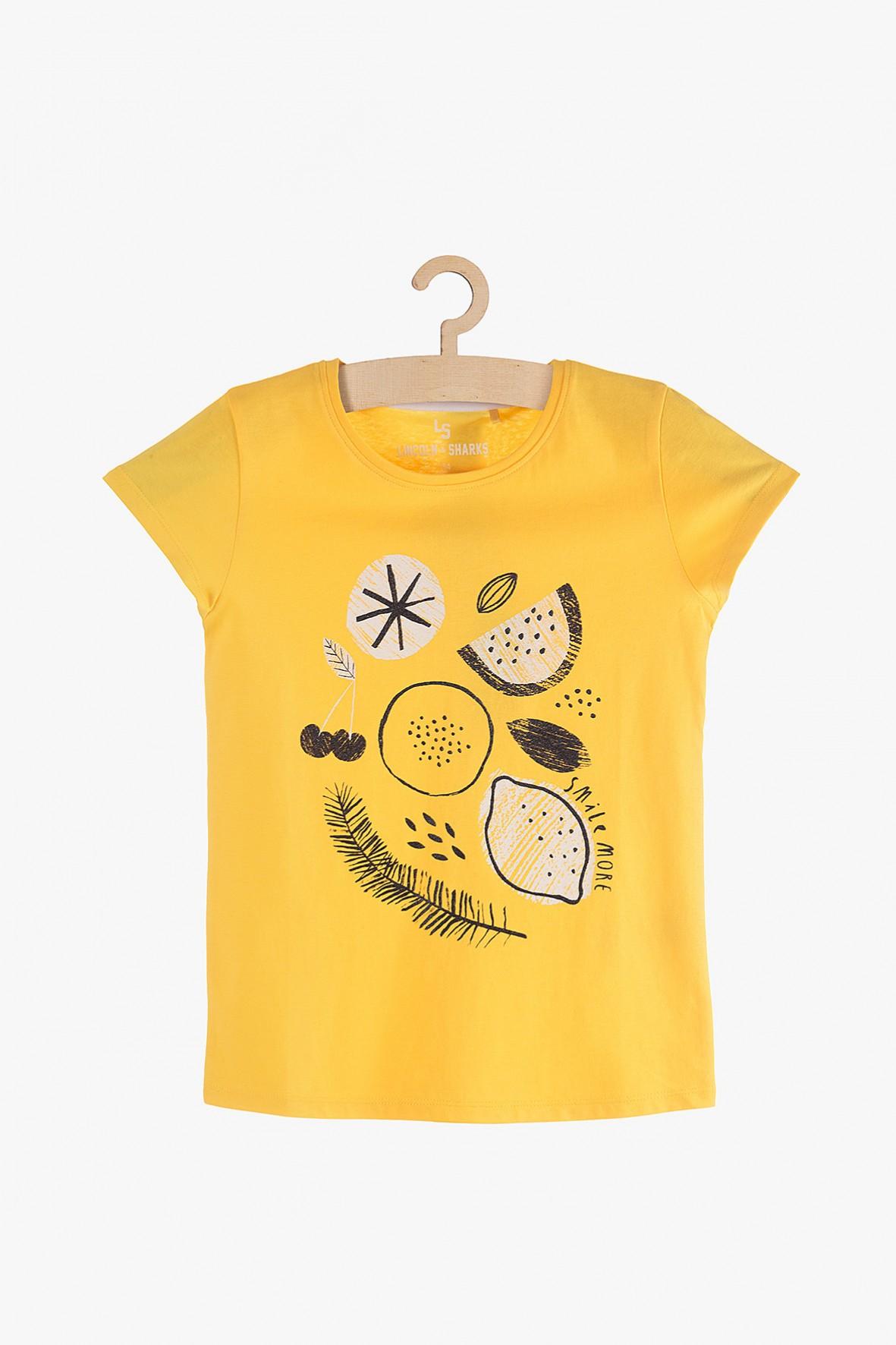 T-Shirt dziewczęcy żółty z cytrynami - 100% bawełna