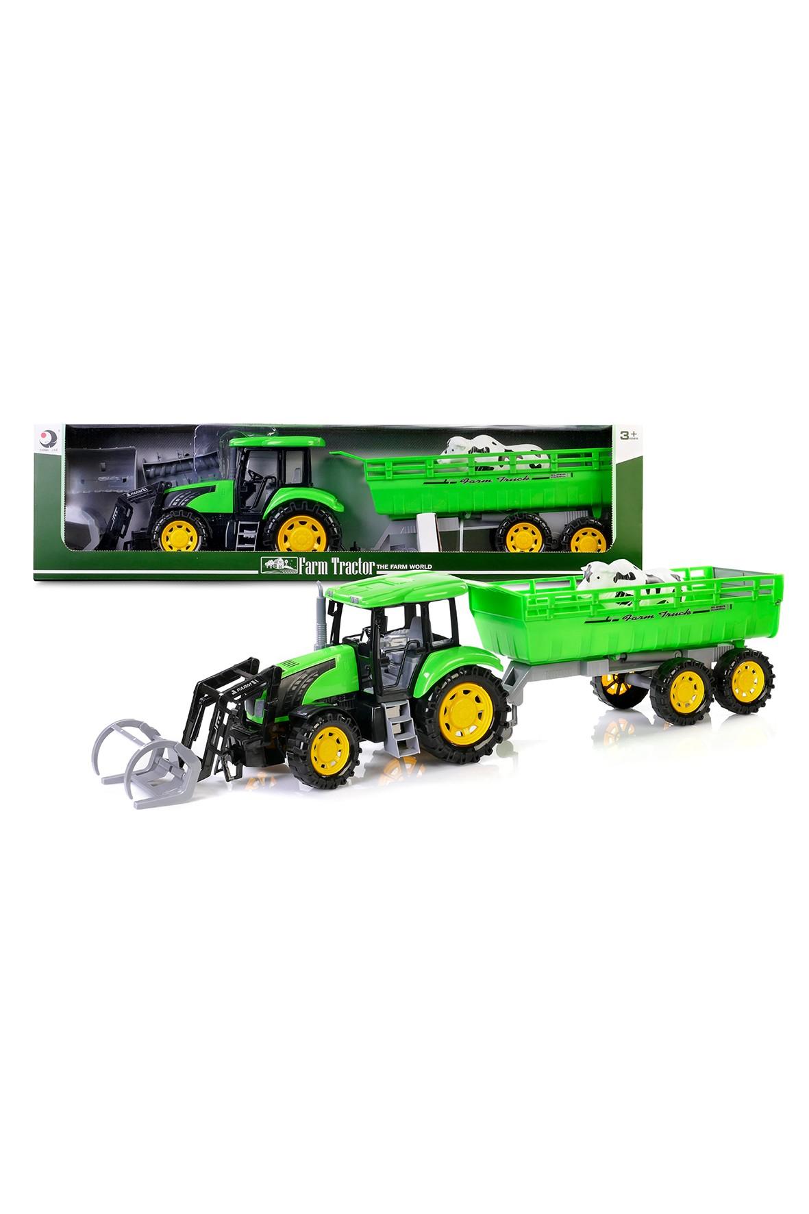 traktor z przyczepą 79 cm. zielony