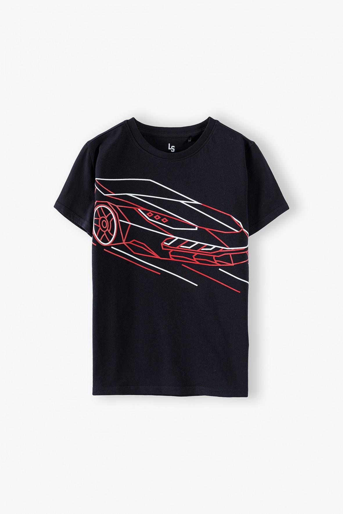 T-shirt chłopięcy czarny z samochodem