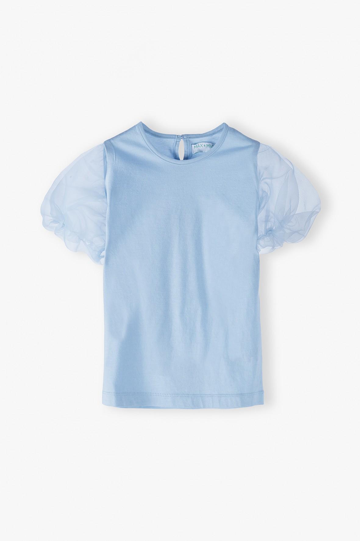T-shirt z bufiastymi rękawkami - niebieski