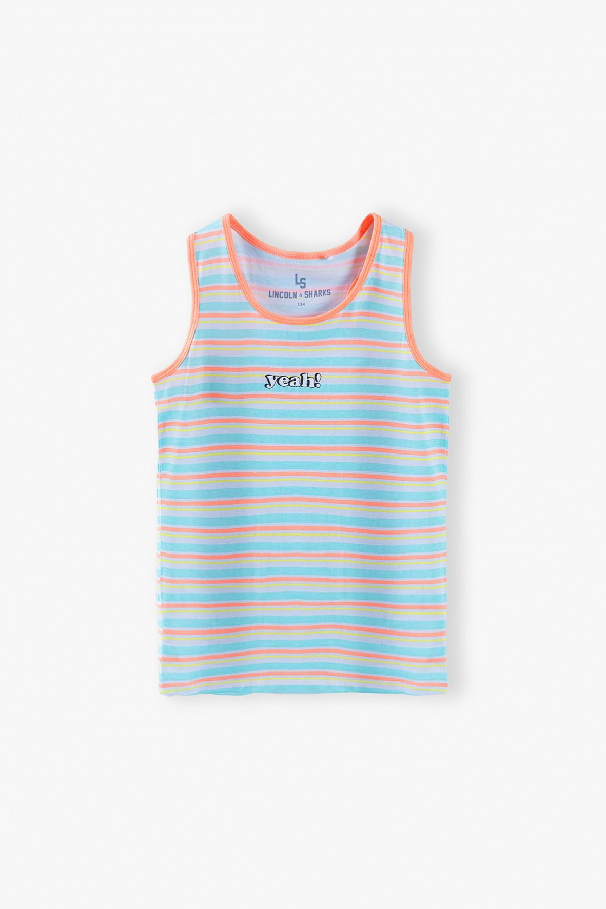 T-shirt dziewczęcy  z napisem Yeah - w kolorowe paski