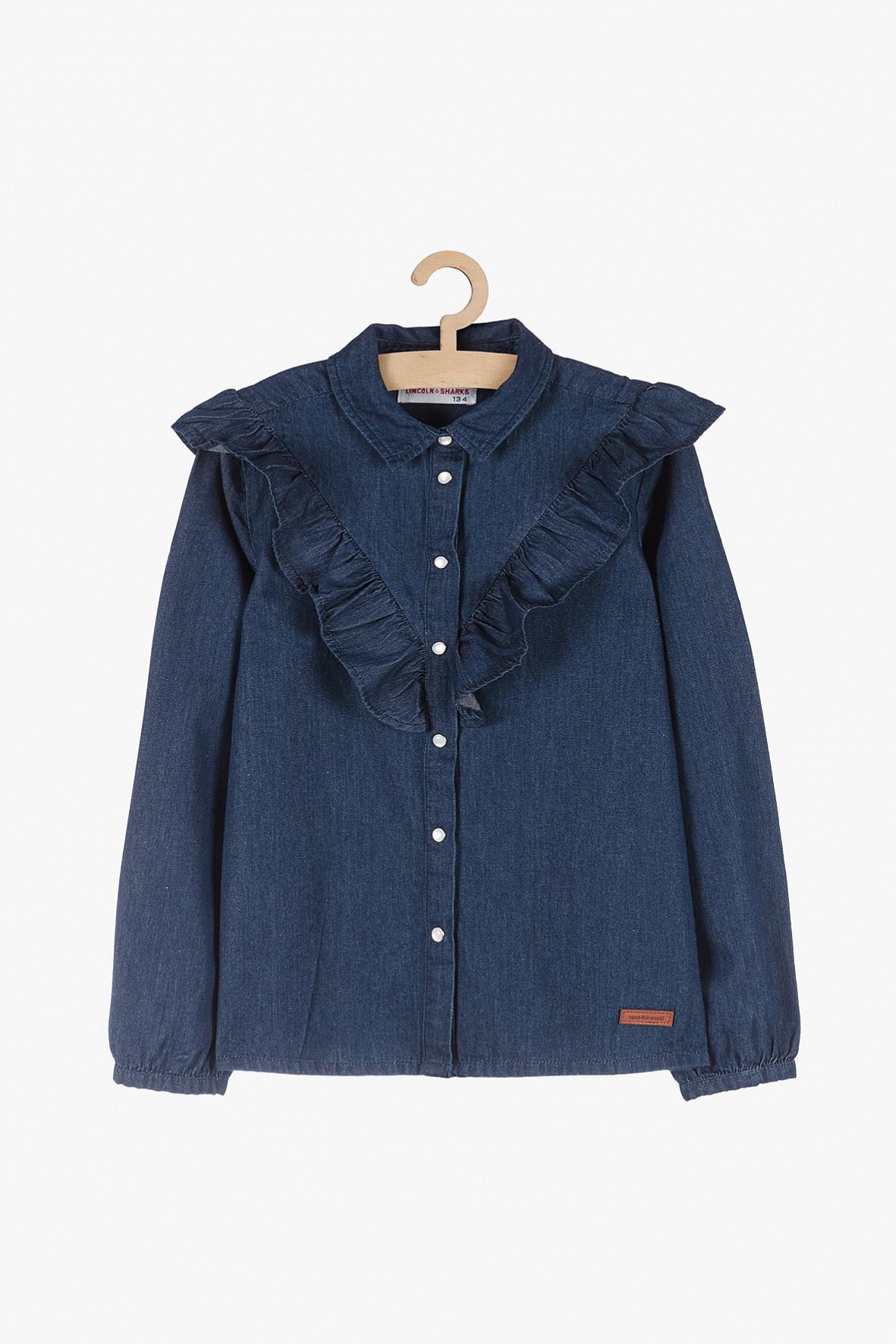 Jeansowe koszula dla dziewczynki- granatowa