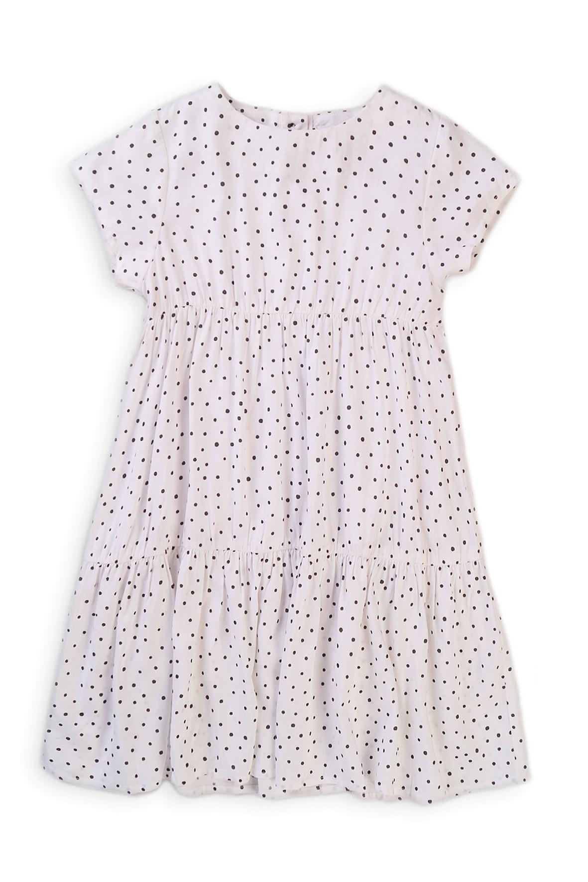 Sukienka dziewczęca z wiskozy biała w kropki