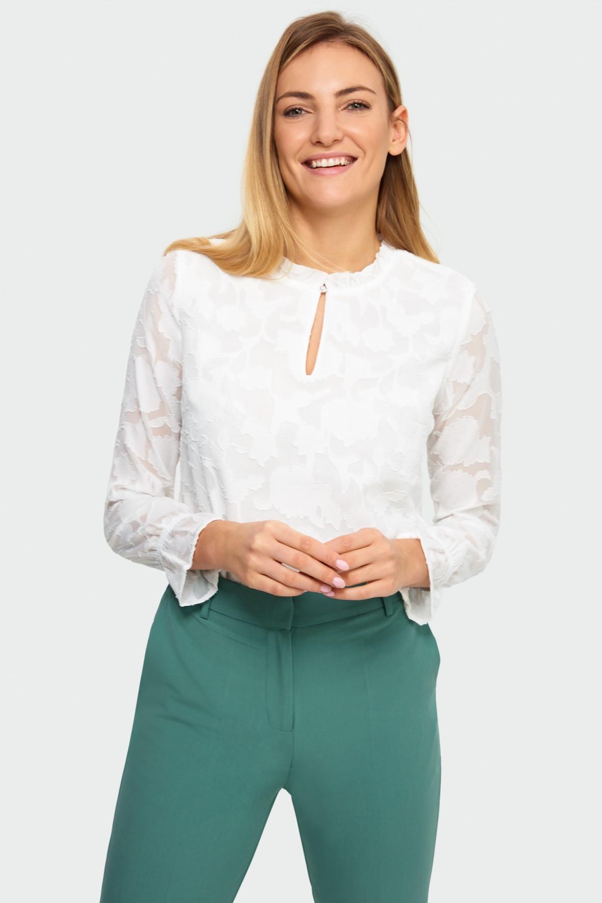 Elegancka bluzka damska biała z długim rękawem