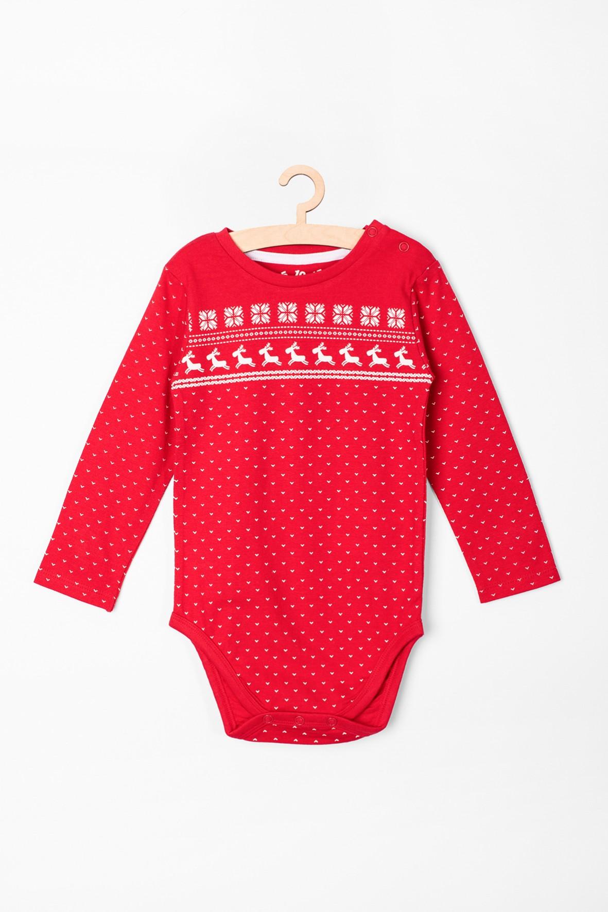 Body niemowlęce świąteczne- czerwone w renifery