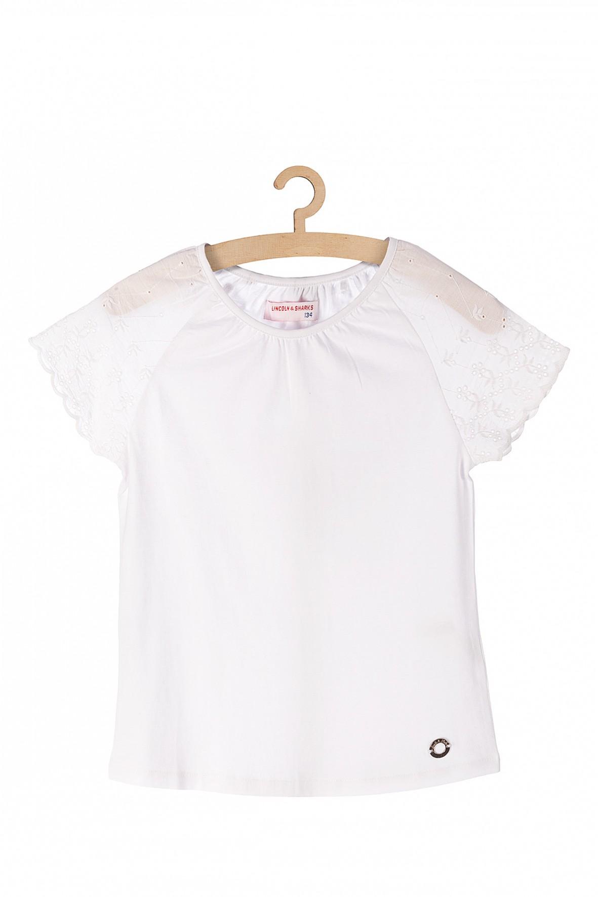 Bluzka biała dla dziewczynki- ażurowe rękawy