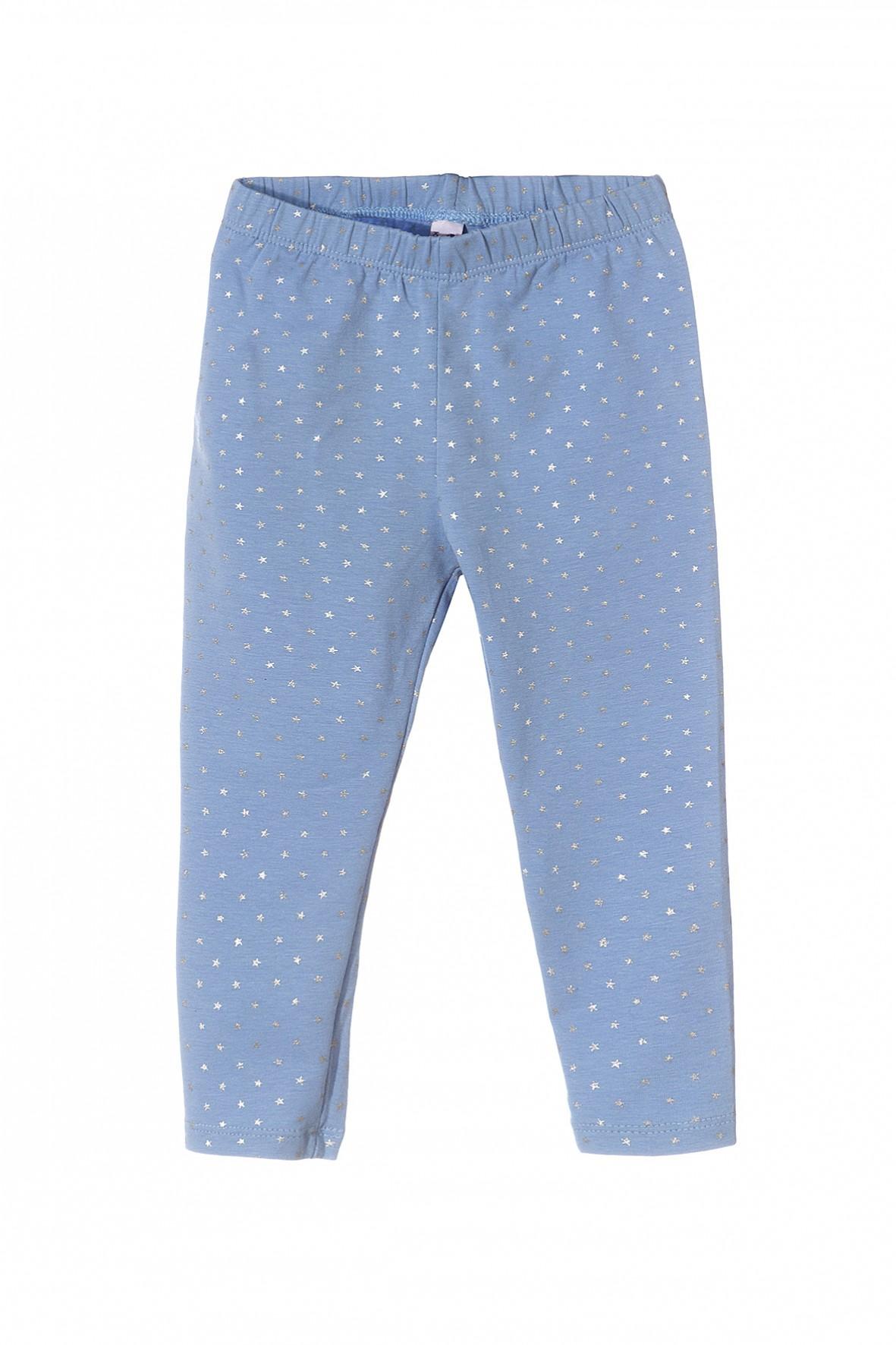 Leginsy dziewczęce niebieskie w srebrne gwiazdki