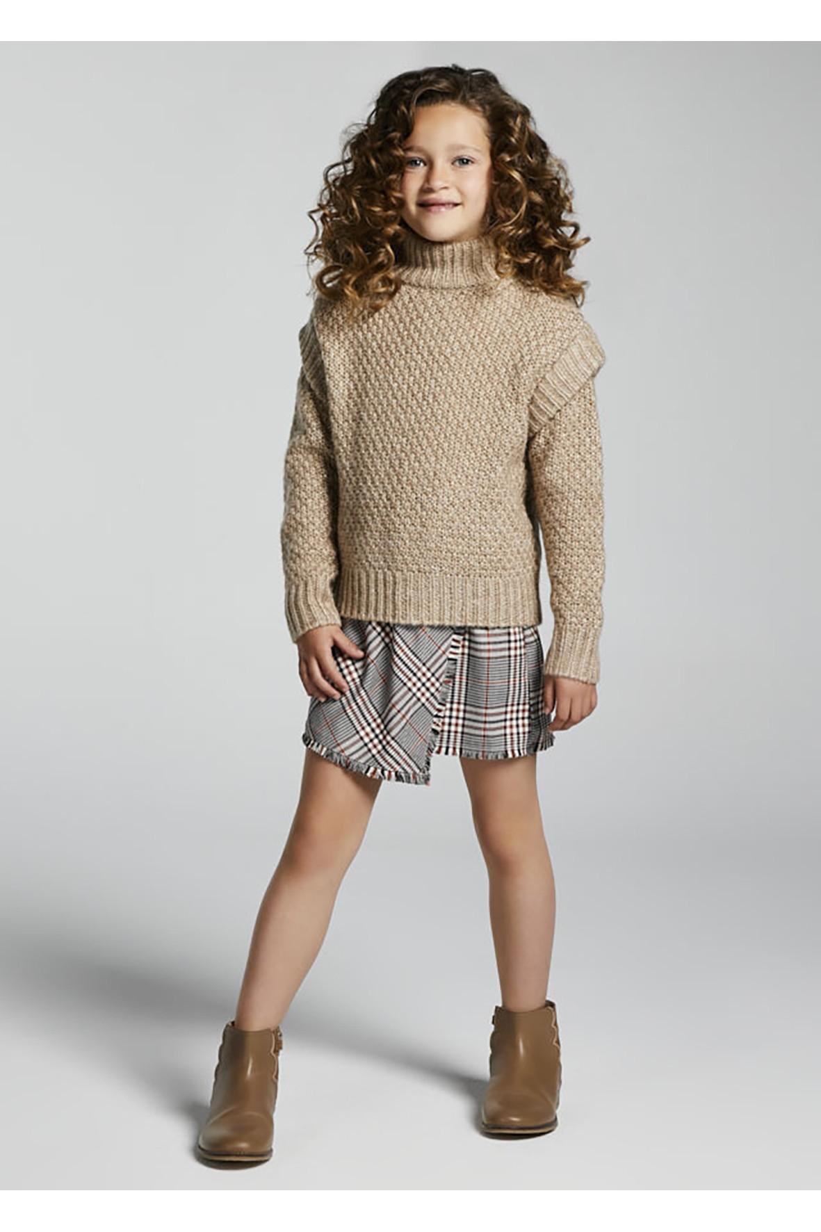 Komplet dziewczęcy - sukienka w kratkę i brązowy sweter