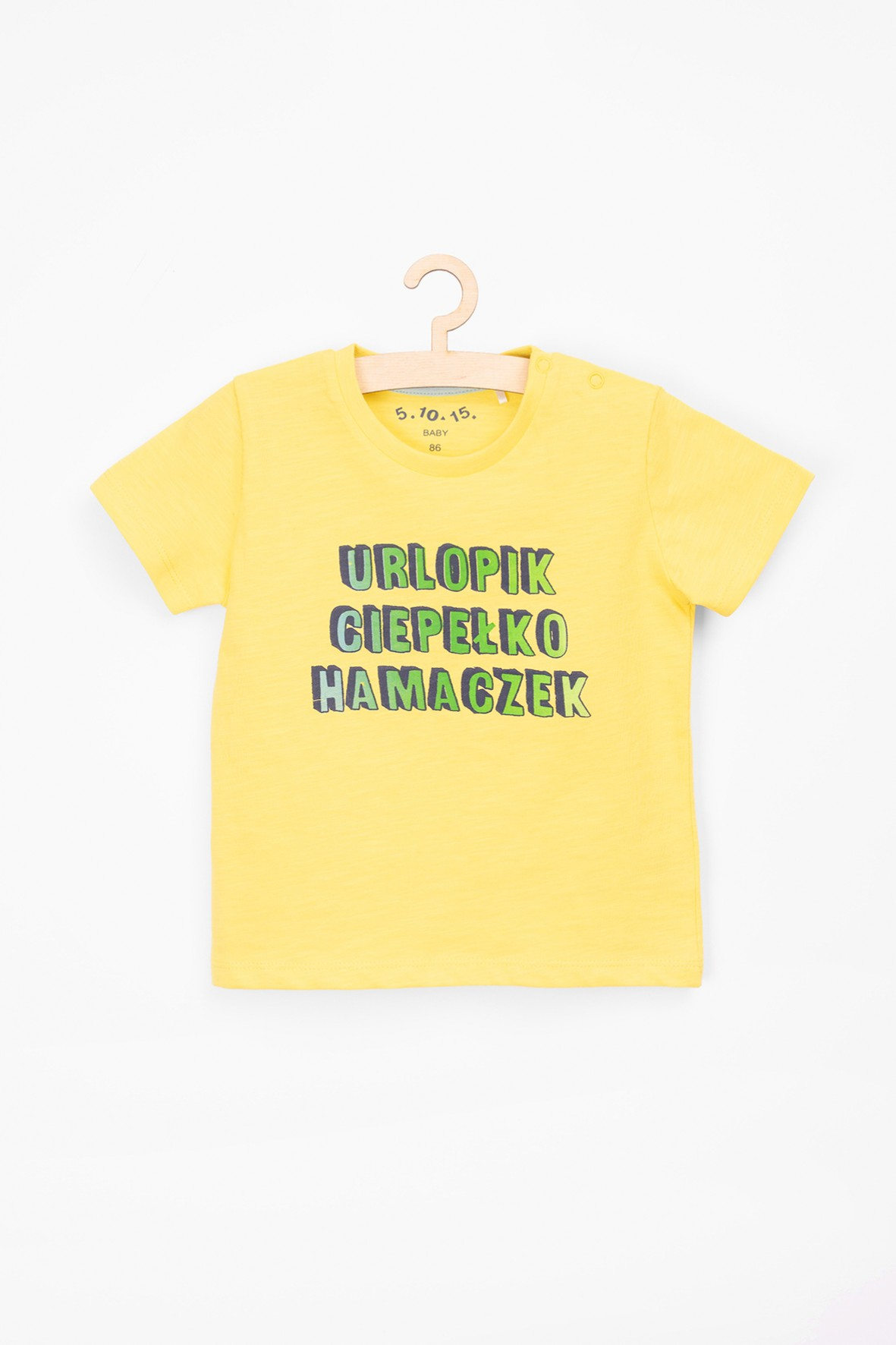 T-shirt dla niemowlaka żółty z polskimi napisami
