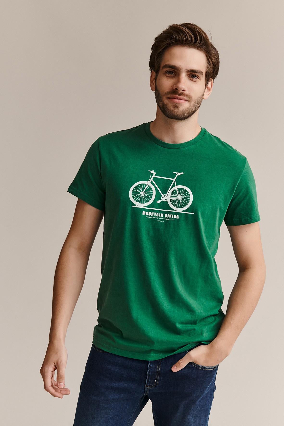 Bawełniany t-shirt męski z rowerem - zielony