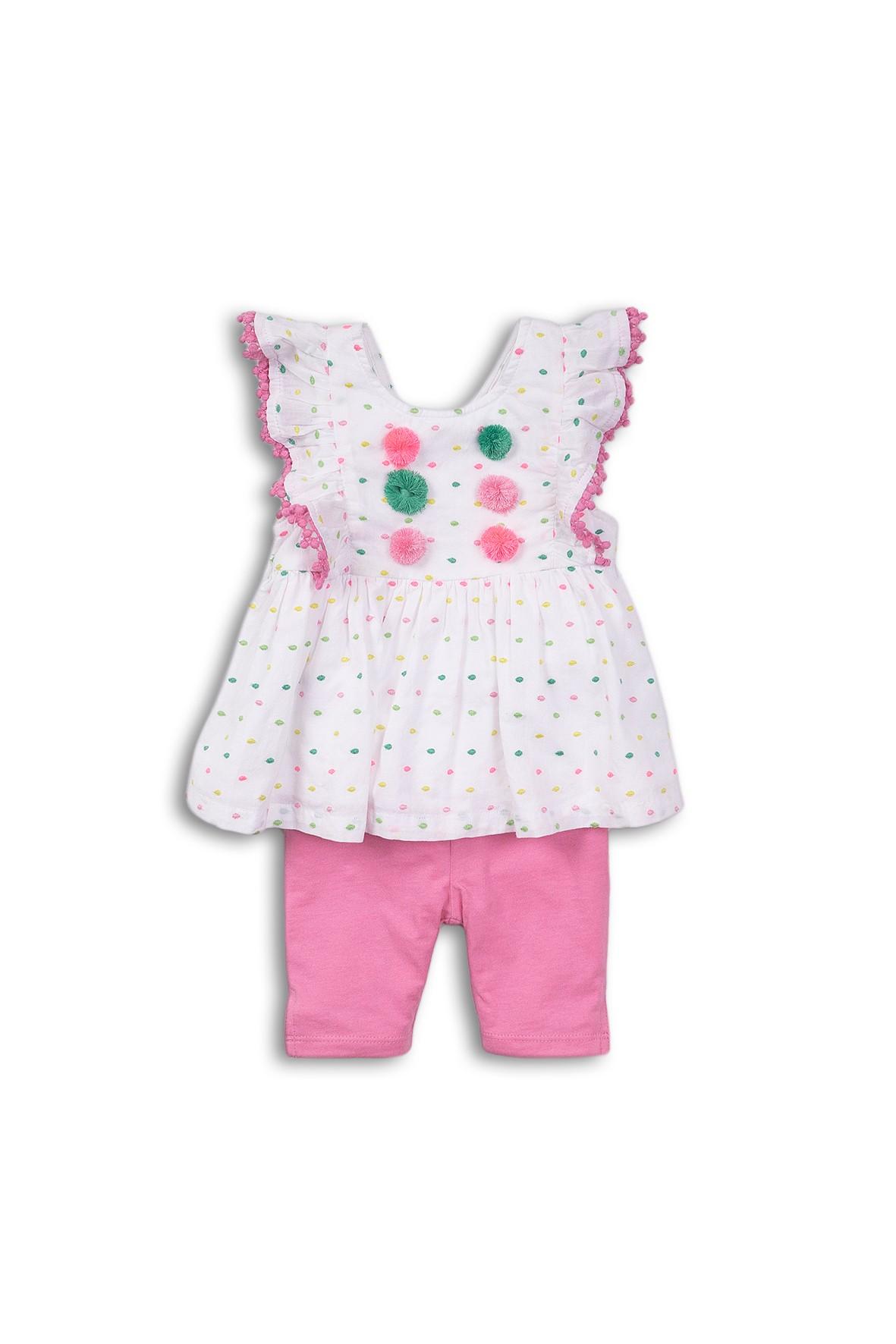 Komplet dziewczęcy biało-różowy - leginsy i bluzka