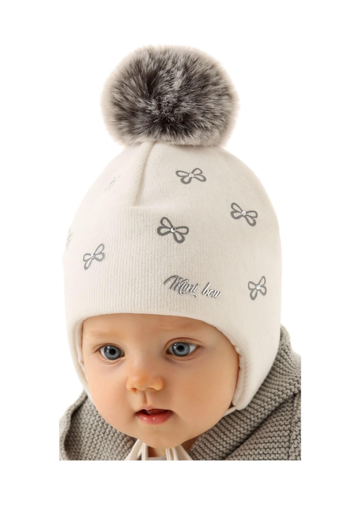 Czapka zimowa dla niemowlaka-  kolor ecru