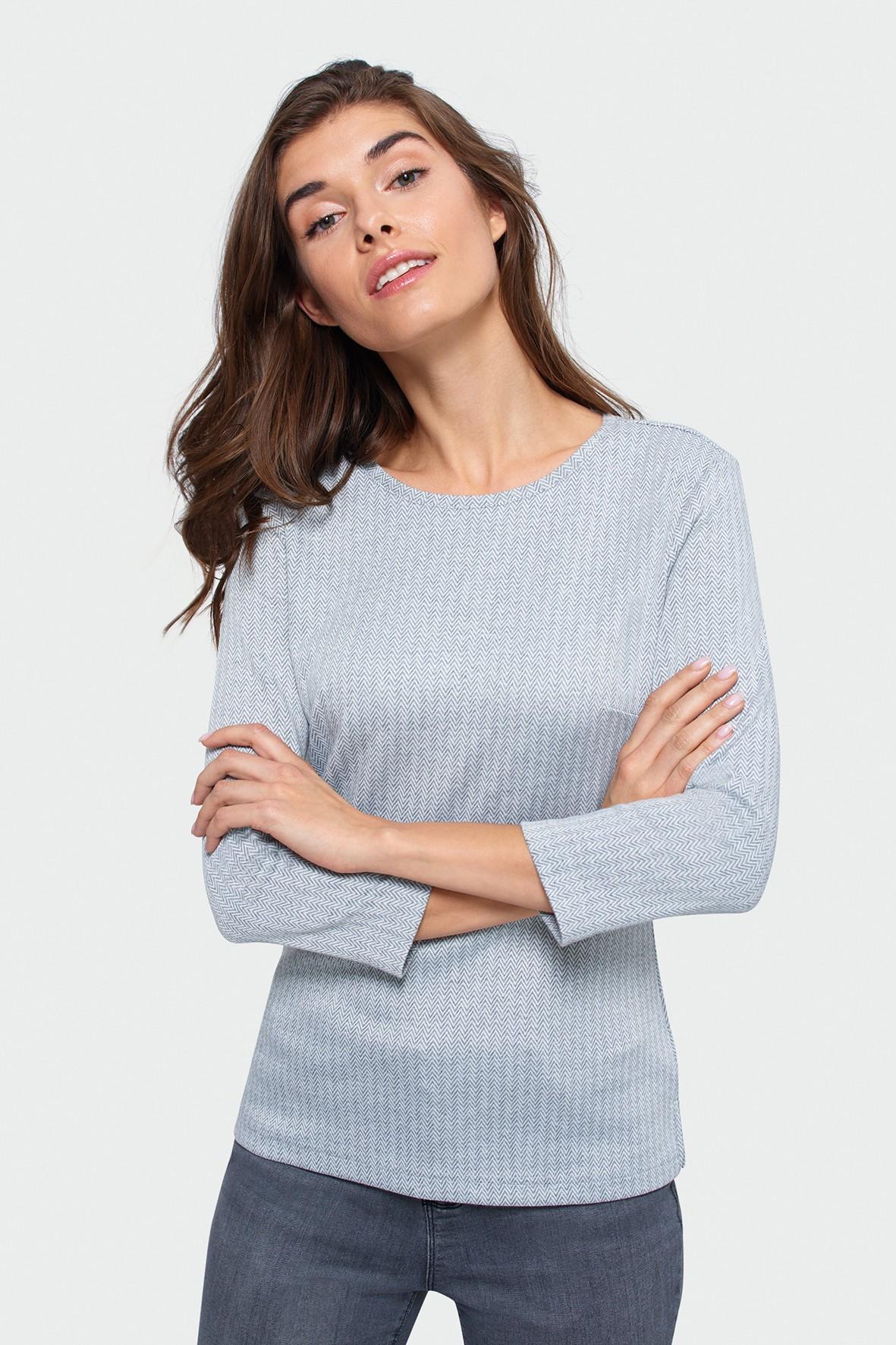 Dzianinowa bluzka dla kobiet- szara w jodełkę