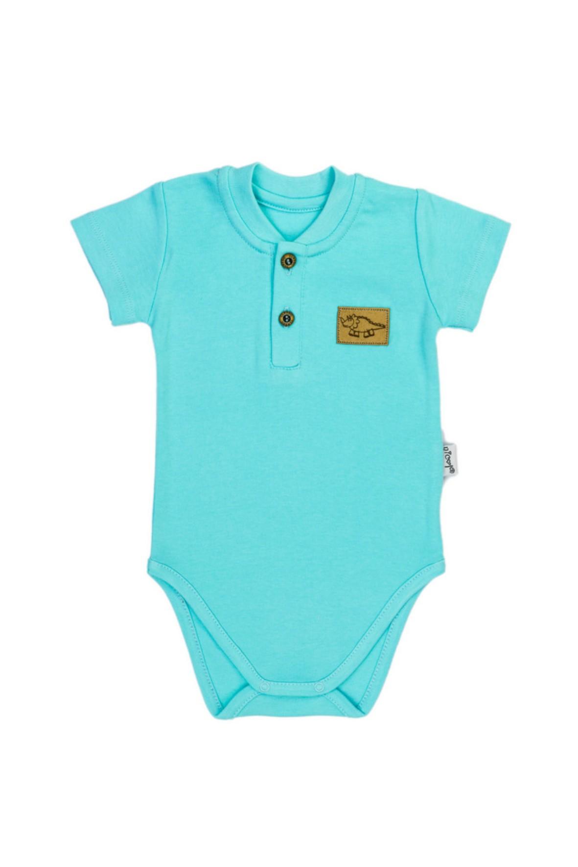 Turkusowe body niemowlęce na krótki rękaw z guzikami przy dekolcie
