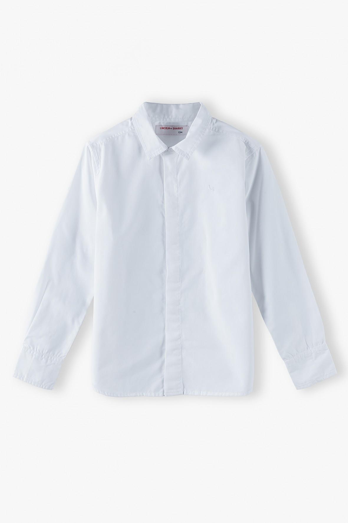 Koszula chłopięca z długim rękawem - biała
