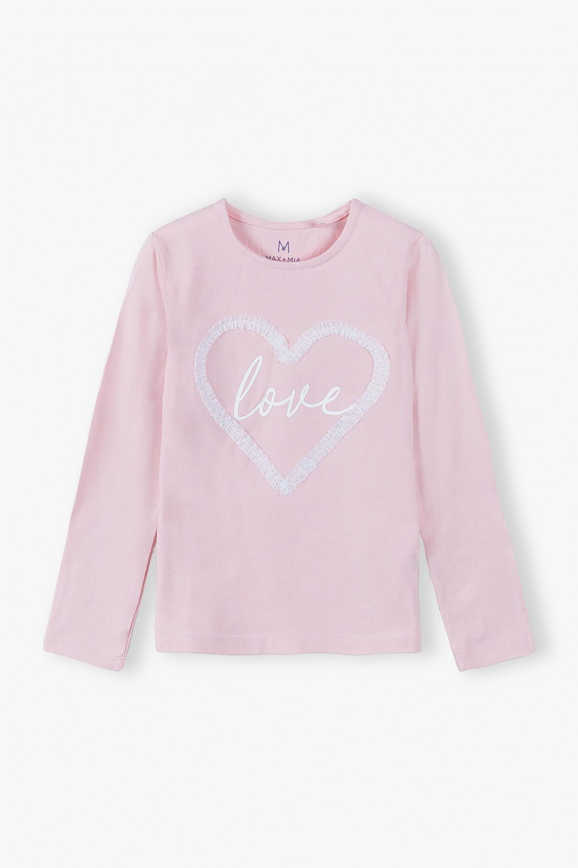 Bluzka dziewczęca z napisem Love - różowa