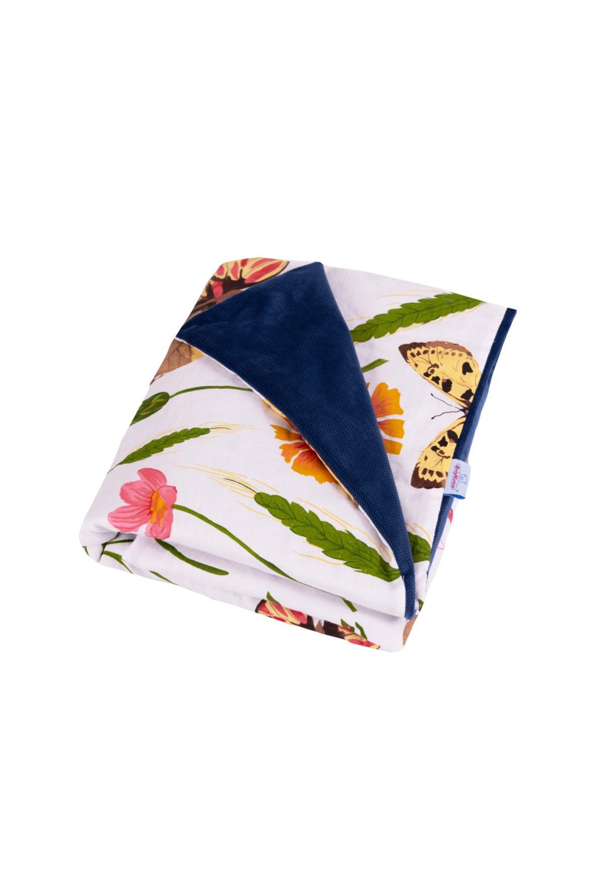Kocyk w kwiatki VELVET- satyna bawełniana + velvet  75x100