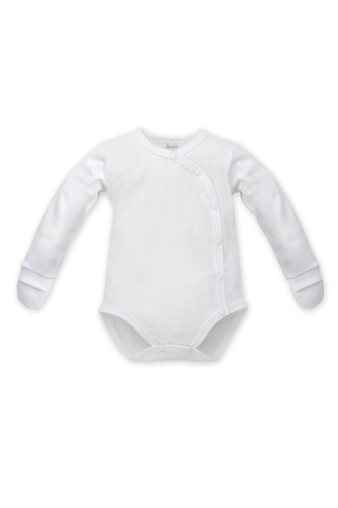 Body kopertowe niemowlęce z długim rękawem i niedrapkami białe