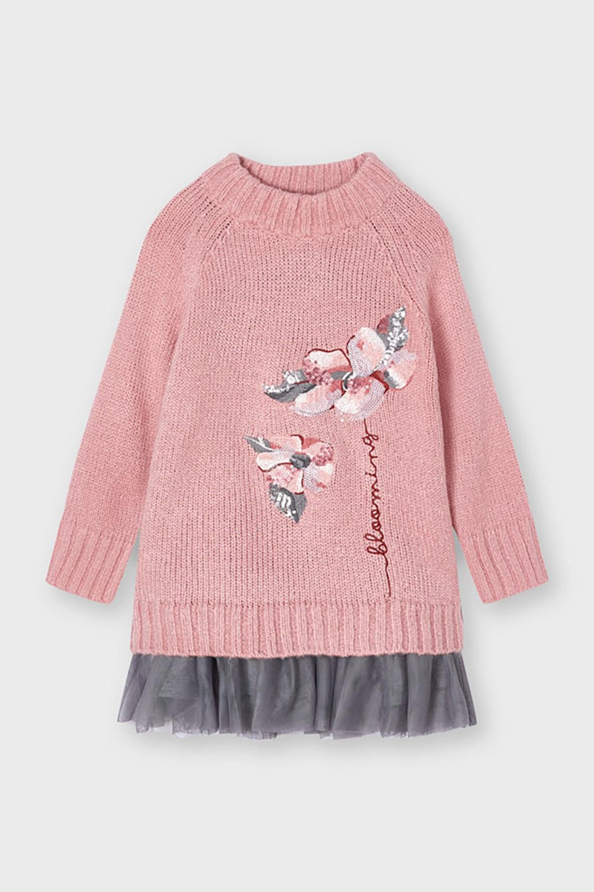 Komplet dziewczęcy Mayoral - sukienka +  różowy sweter  z nadrukiem