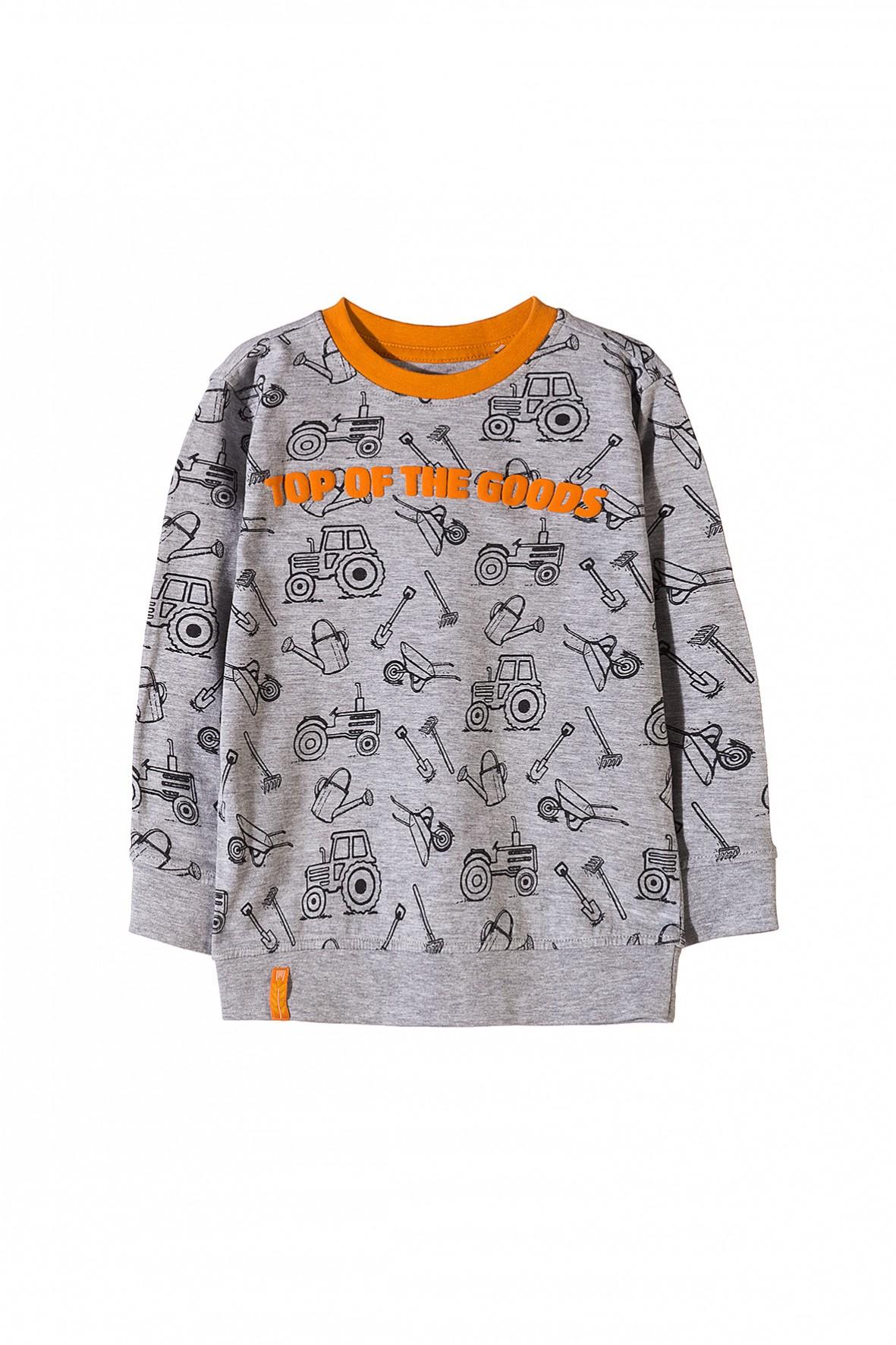 Bluzka chłopięca szara z pomarańczowymi dodatkami