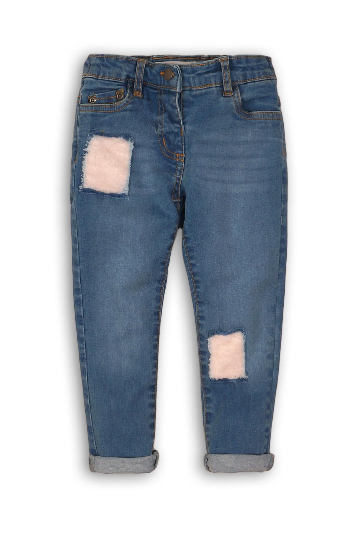 Spodnie dziewczęce jeansowe z łatami