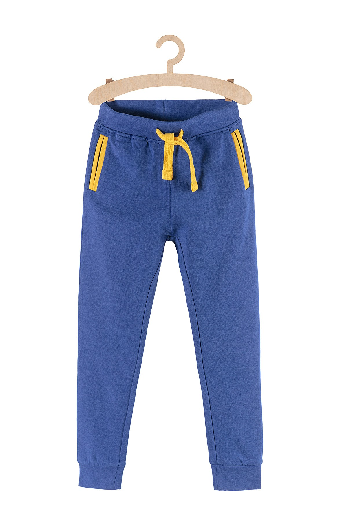 Spodnie dresowe dla chłopca niebieskie z żółtymi wstawkami