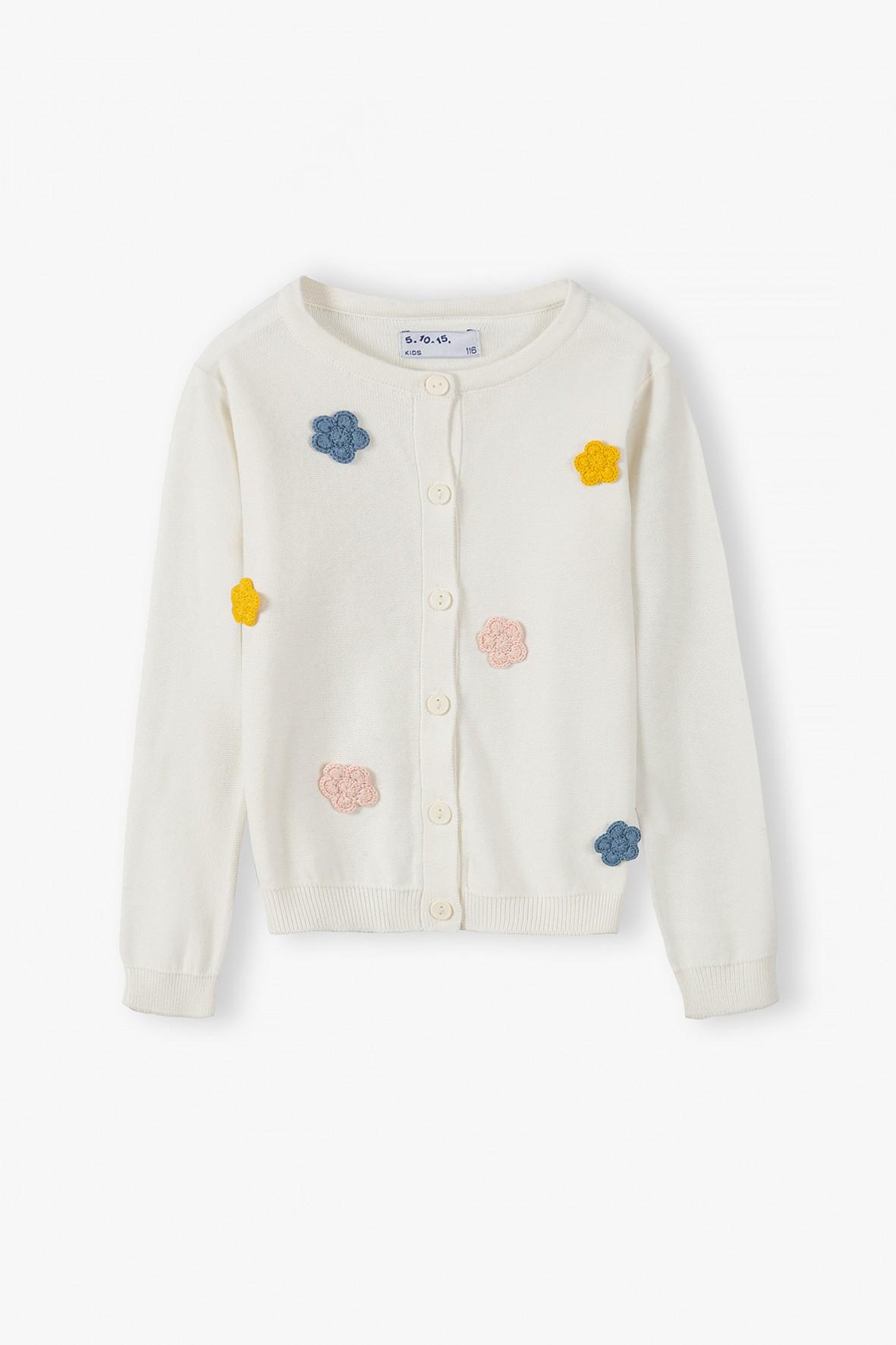 Bawełniany sweterek  dziewczęcy  w kwiatki - ecru