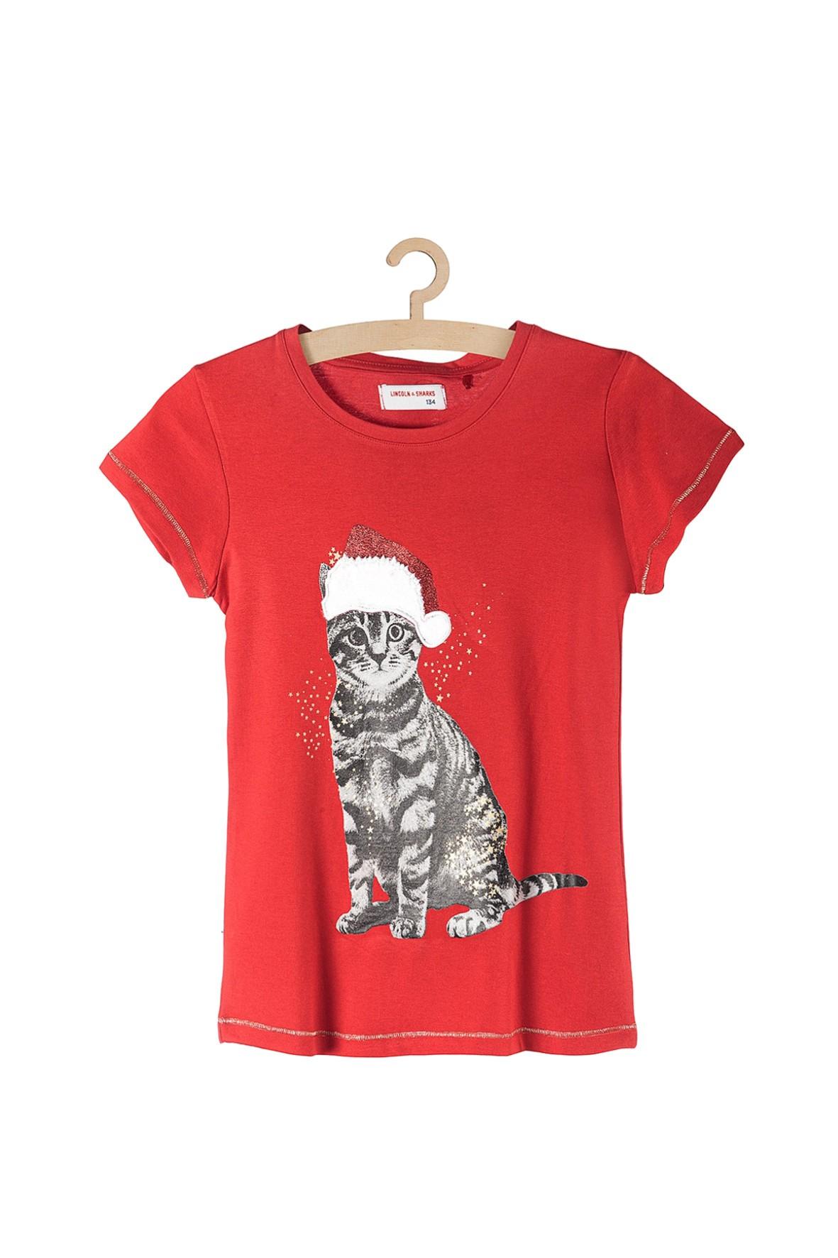 Koszulka dziewczęca czerwona z kotem