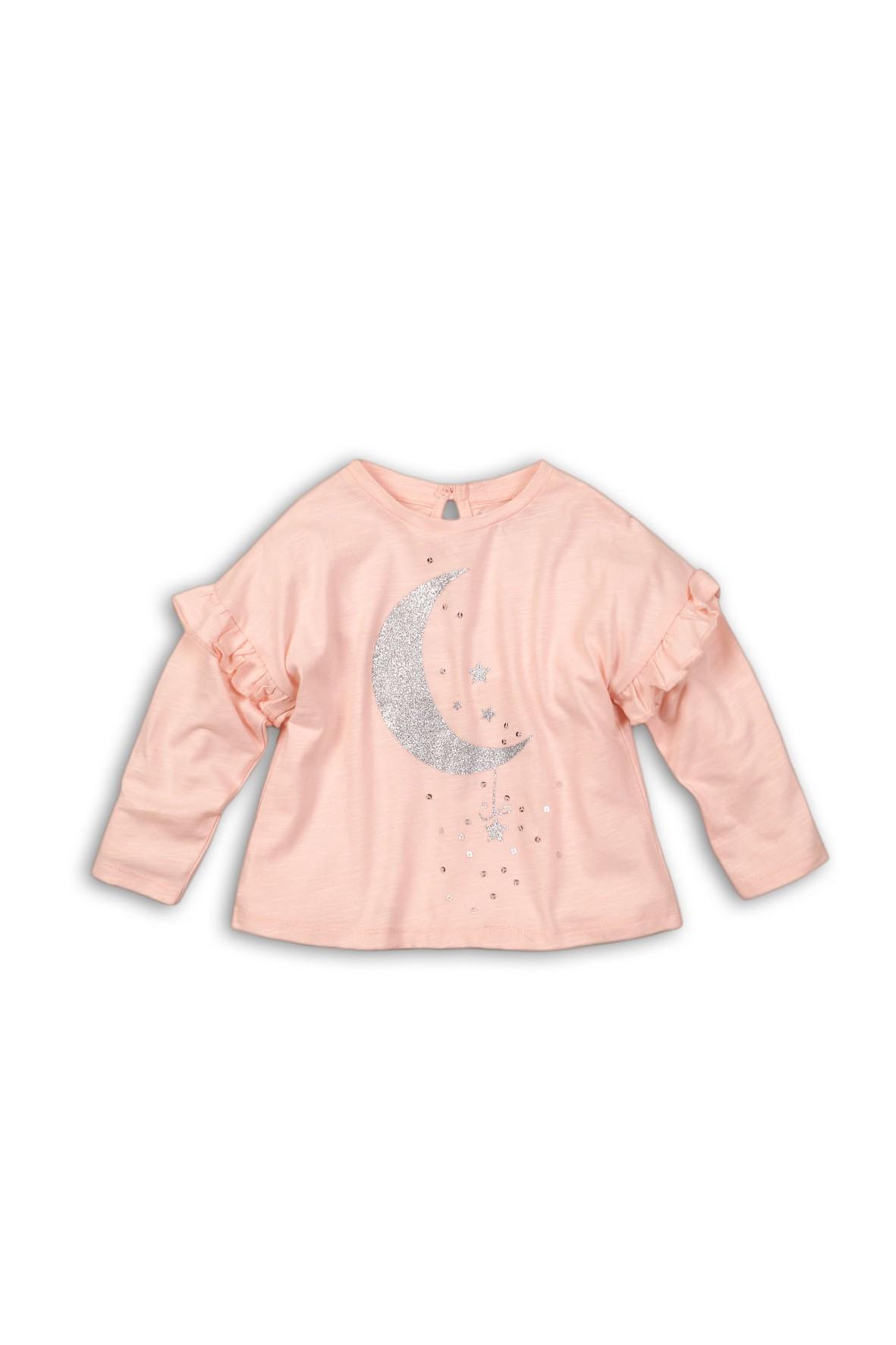 Bluzka dziewczęca różowa z brokatowym księżycem