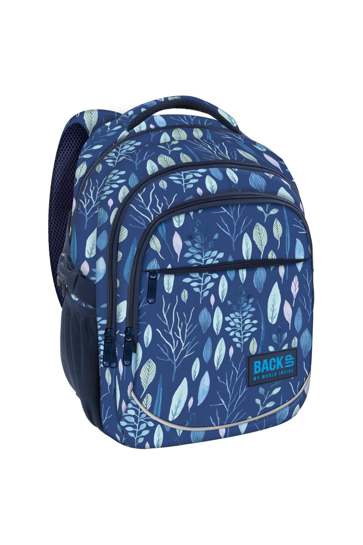 Plecak dziewczęcy 3komorowy niebieski w liście