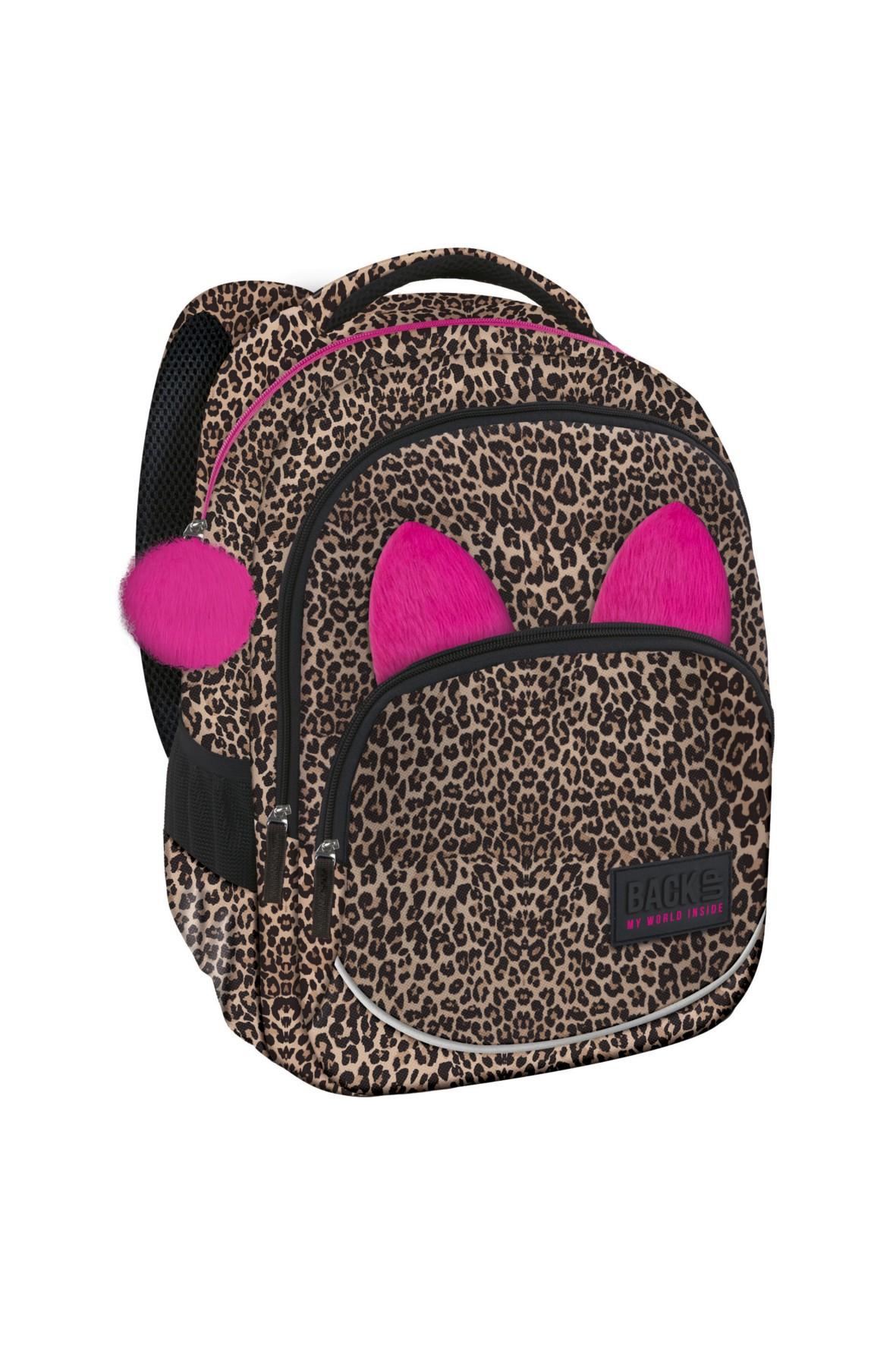 ce4159c0561a0 Plecak dziewczęcy w panterkę z różowymi uszami