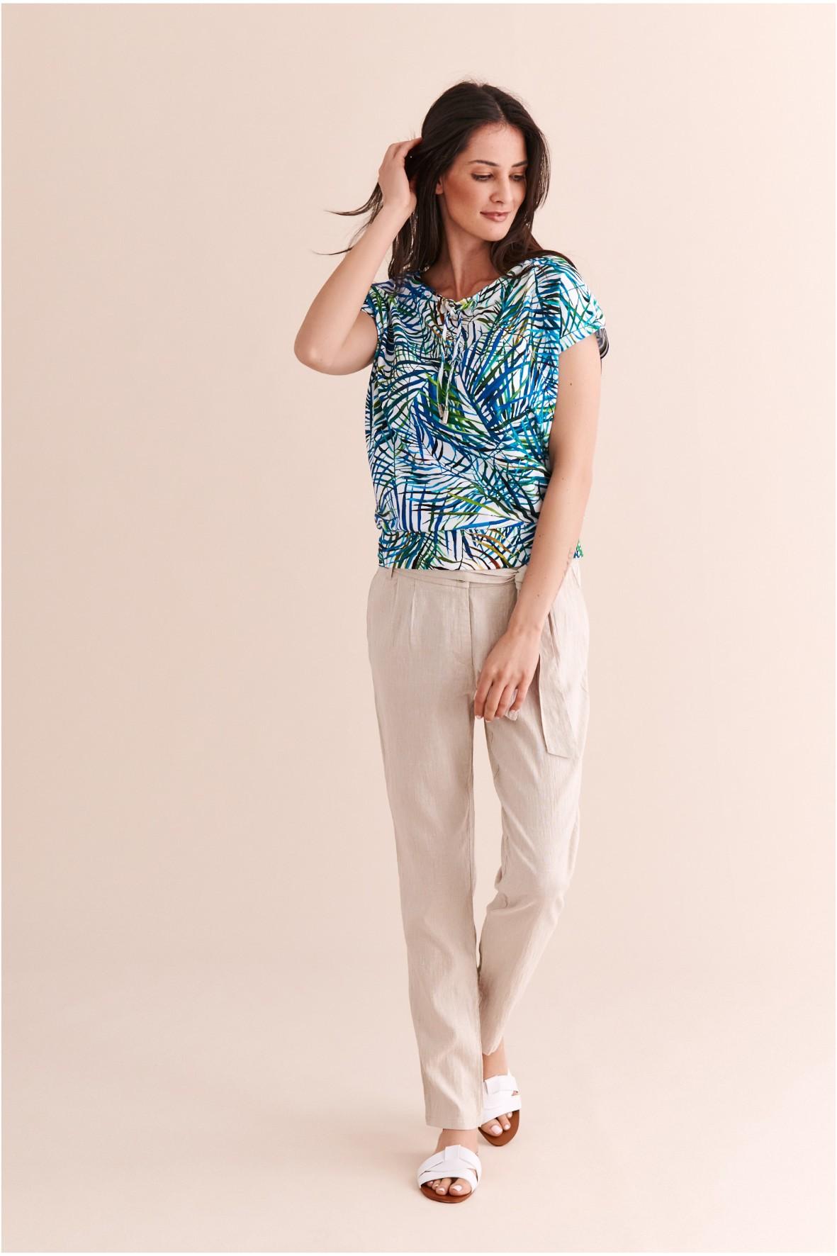 Spodnie damskie beżowe materiałowe
