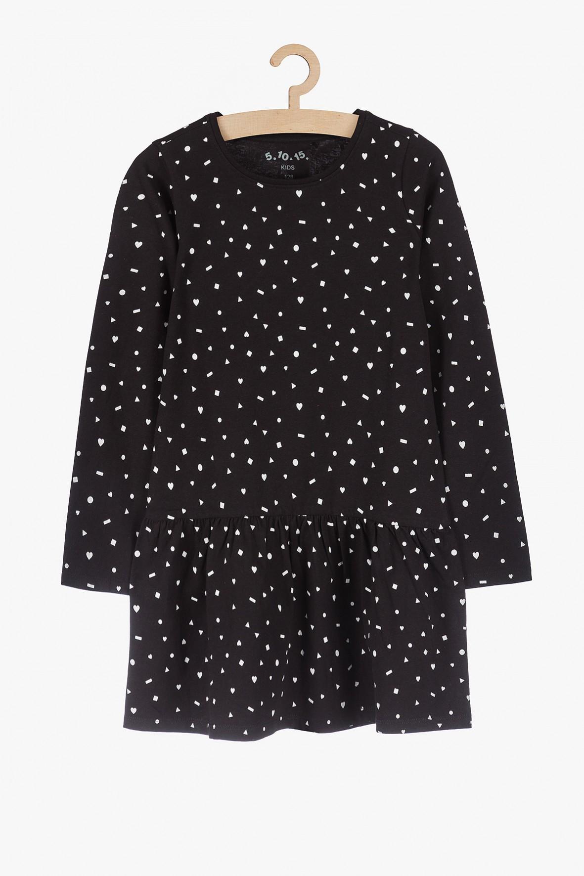 Czarna sukienka z długim rękawem- dzianinowa w symetryczne wzory