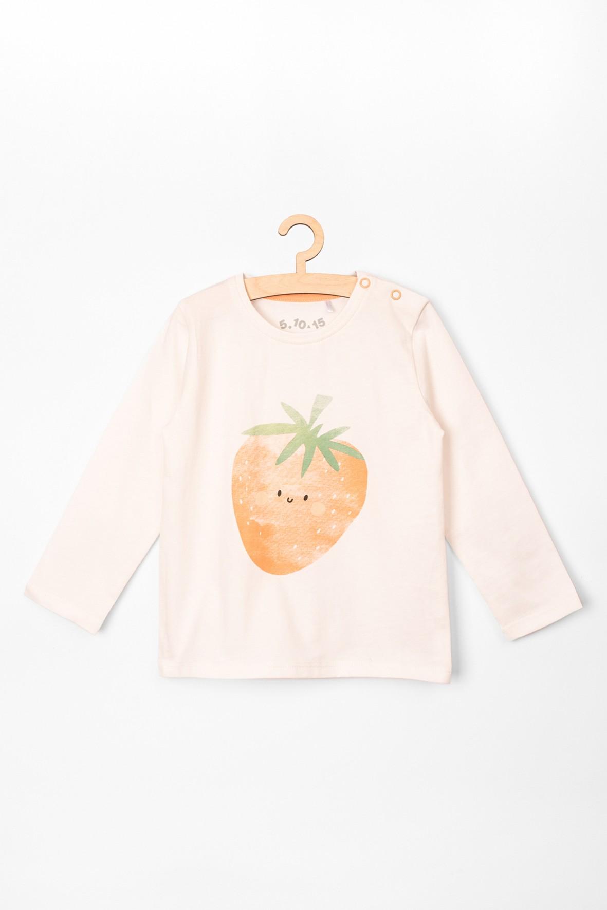 Bluzka niemowlęca dla dziewczynki z truskawką 100% bawełna