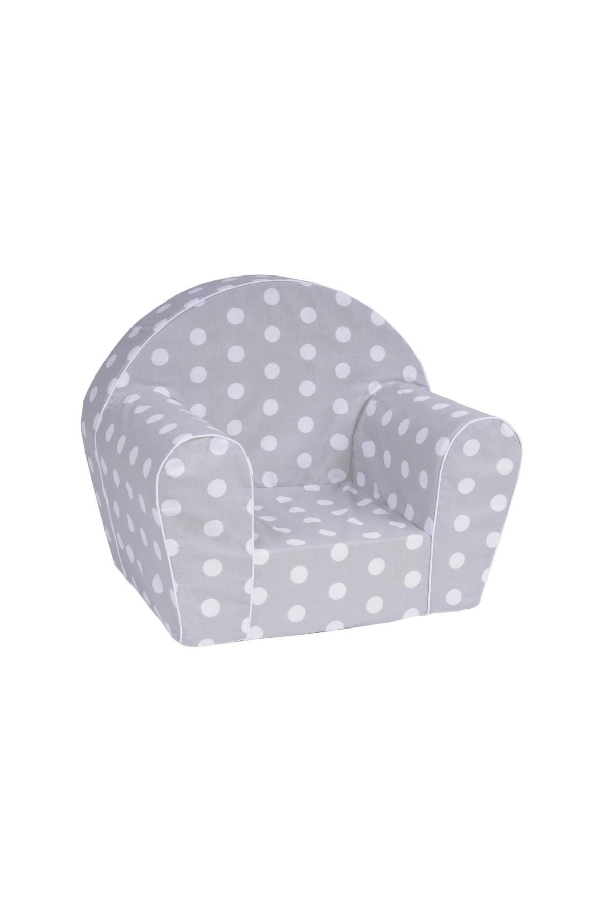 Szary fotelik w białe kropki