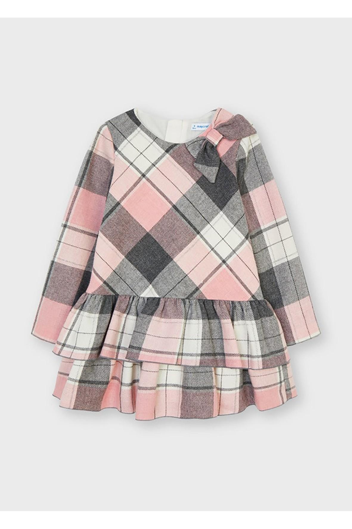 Sukienka maxi w kratkę Mayoral - różowa