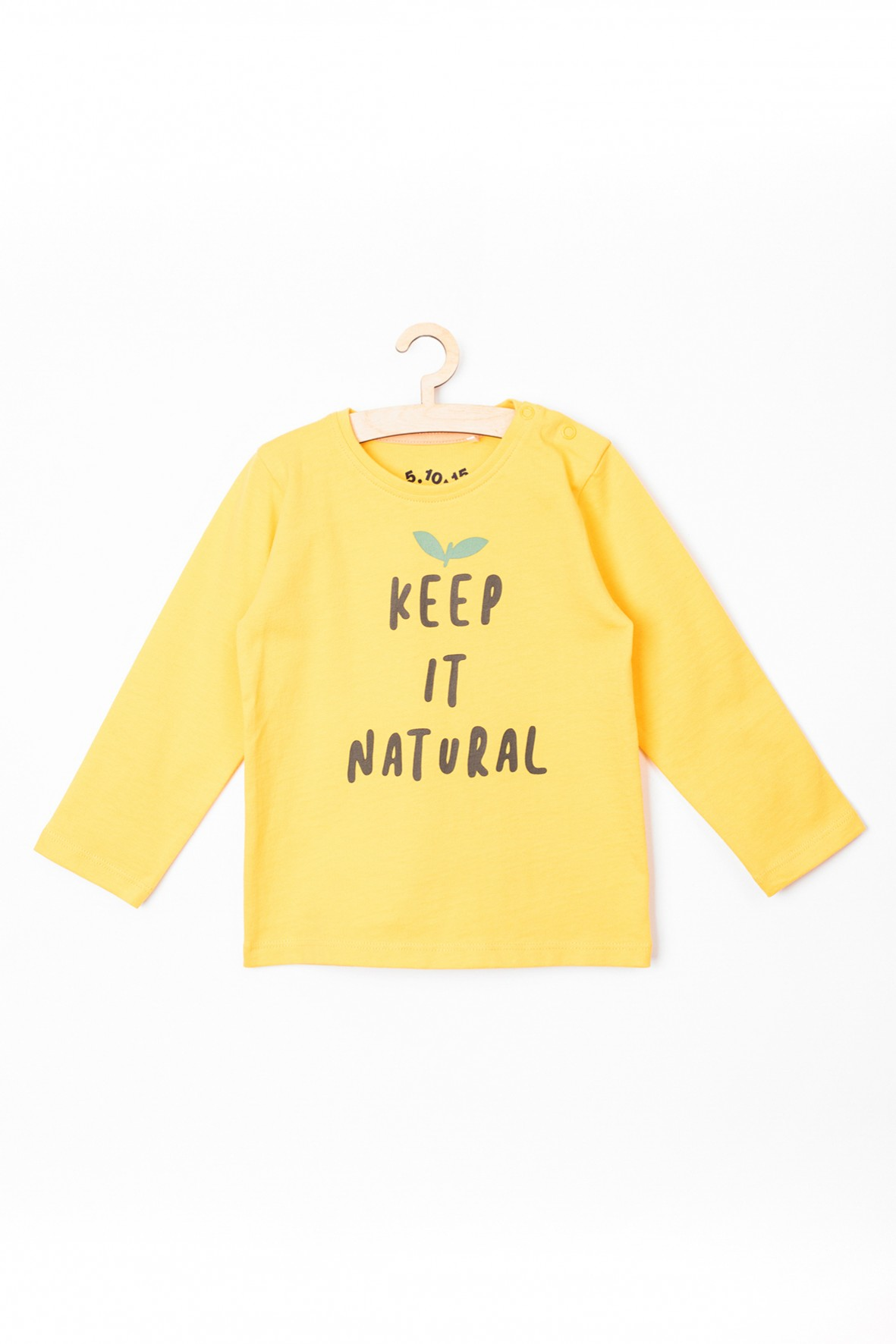 Bluzka niemowlęca żółta z napisem- Keep in natural