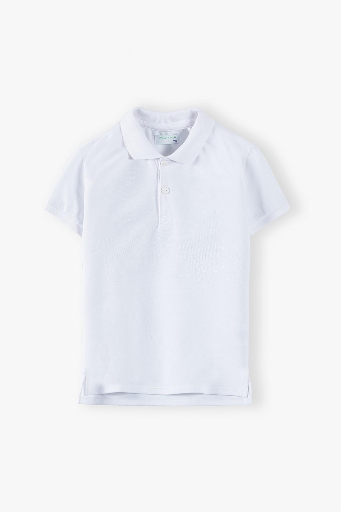 T-shirt chłopięcy bawełniany z kołnierzykiem -biały