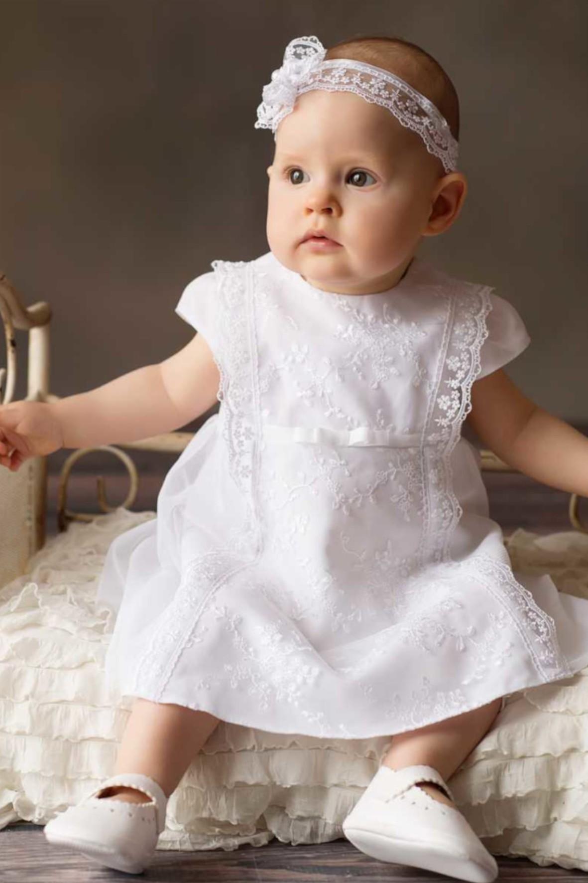 Biała elegancka sukienka niemowlęca do chrztu-Alicja