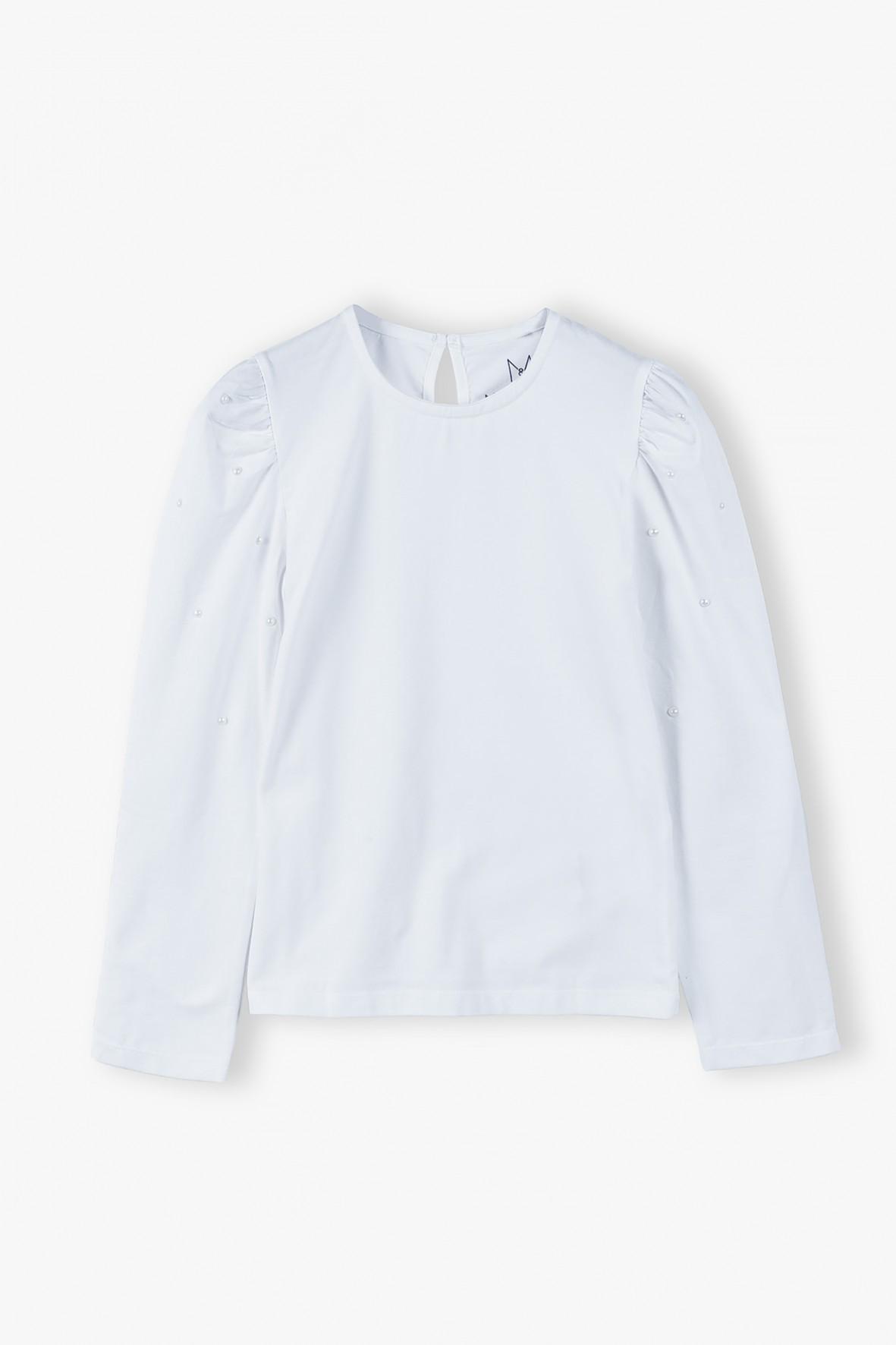 Bluzka dziewczęca- biała z bufiastymi rękawami i perełkami
