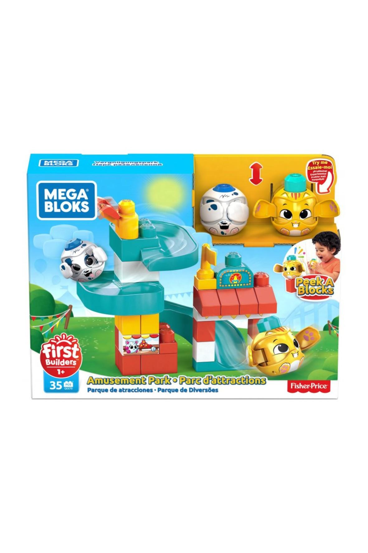 Mega Bloks First Builders - Klocki A kuku zestaw zjeżdżalnia plac zabaw + 2 zwierzątka 12msc+