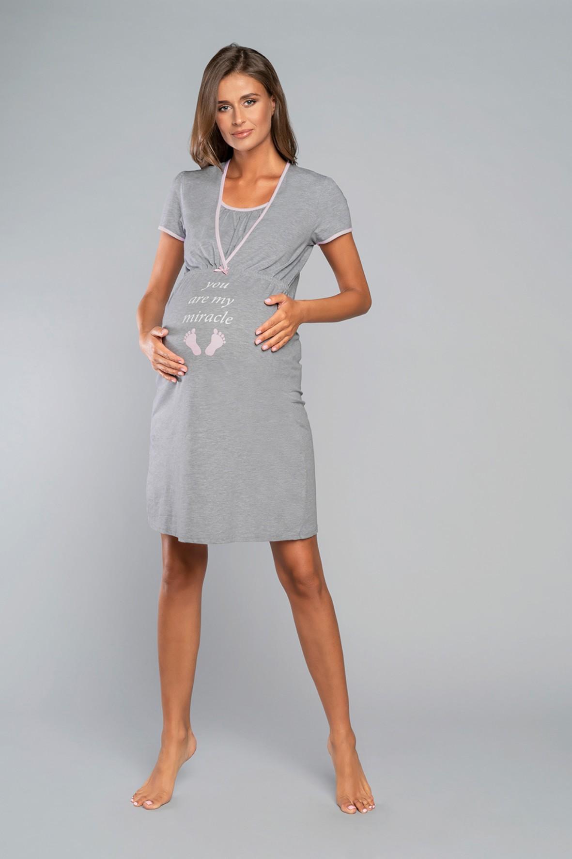 Koszula nocna ciążowa CARLINA z krótkim rękawem - szara