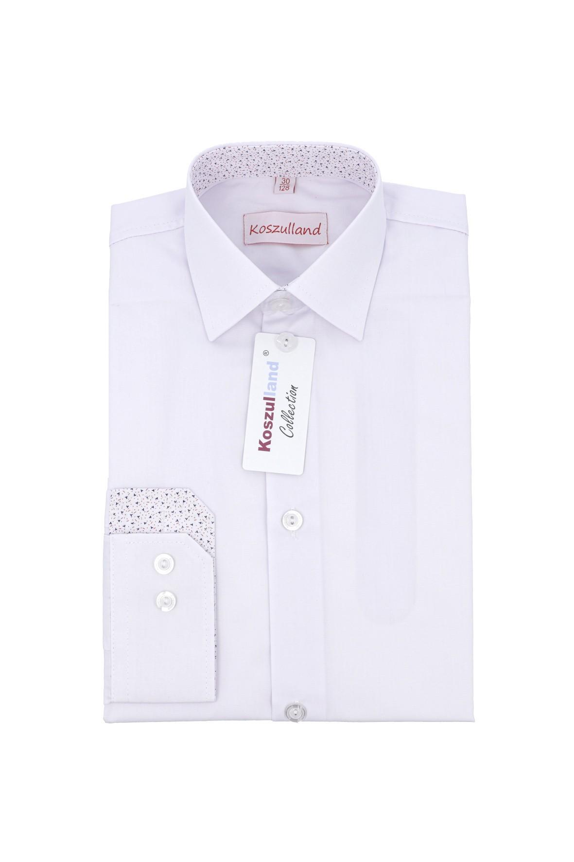 Koszula chłopięca biała z długim rękawem