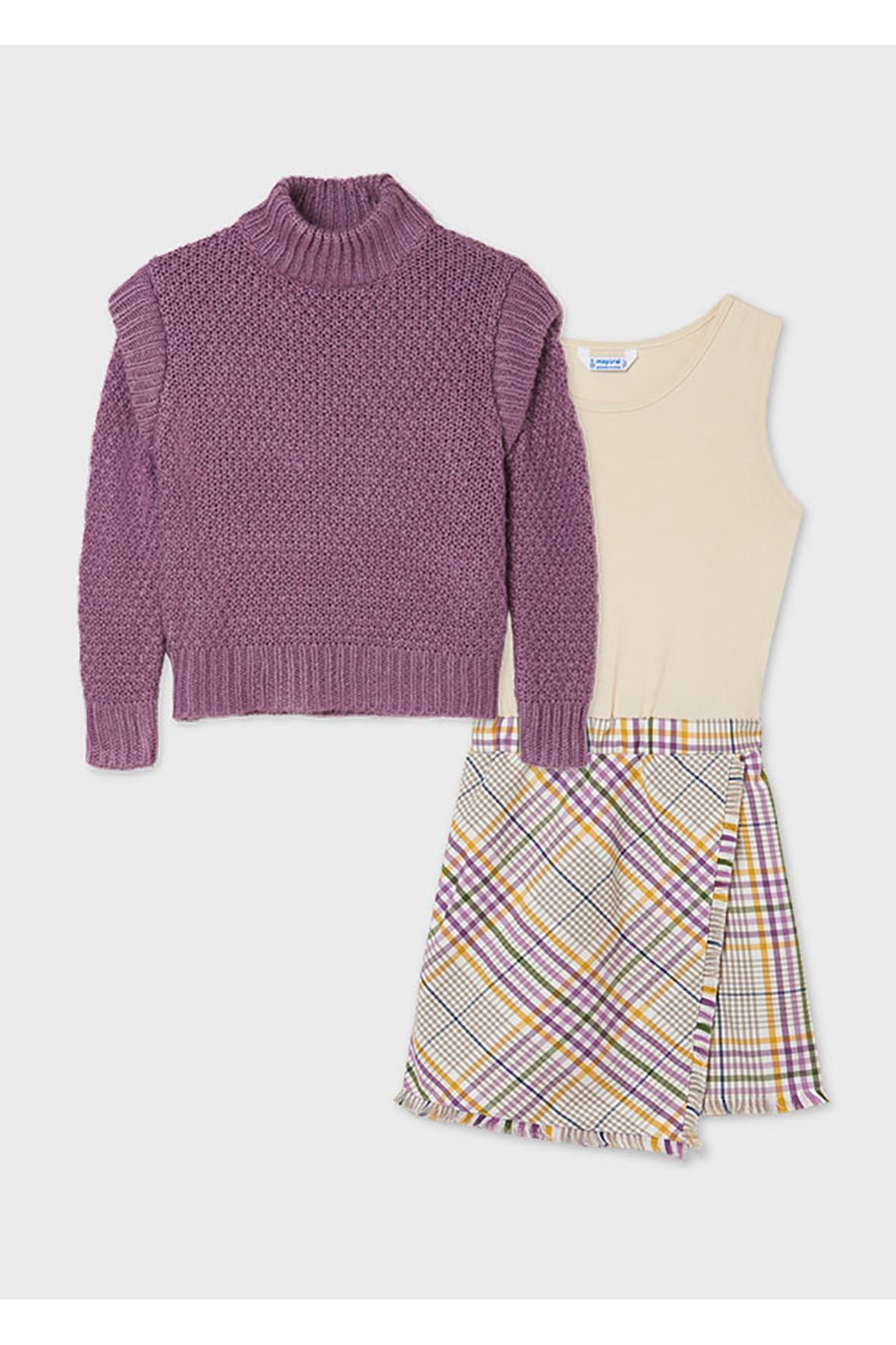 Komplet dziewczęcy Mayoral - sukienka w kratkę i fioletowy sweter