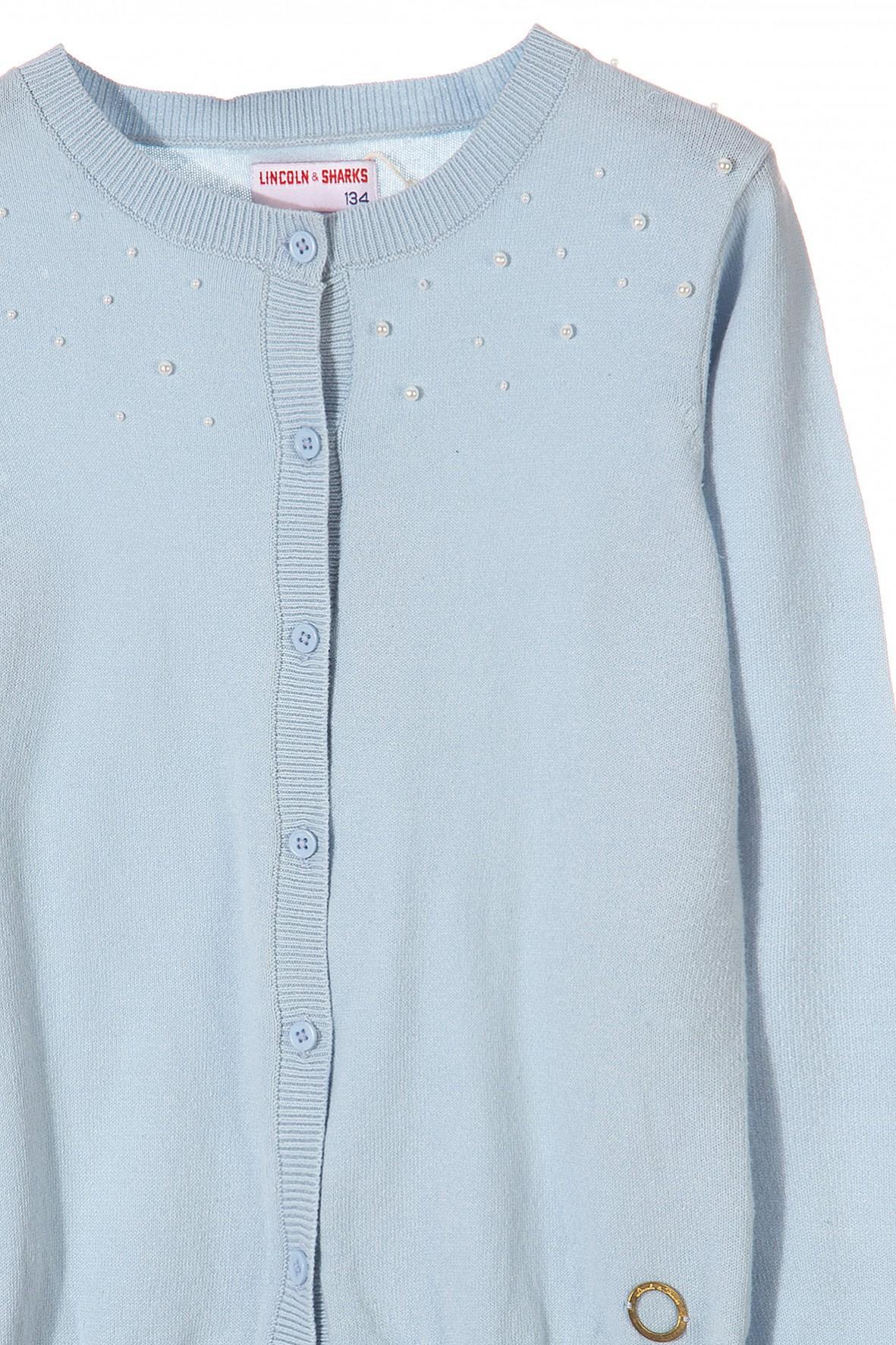 7cdfb48b48 ... Niebieski elegancki sweterek dziewczęcy z perłowymi koralikami ...